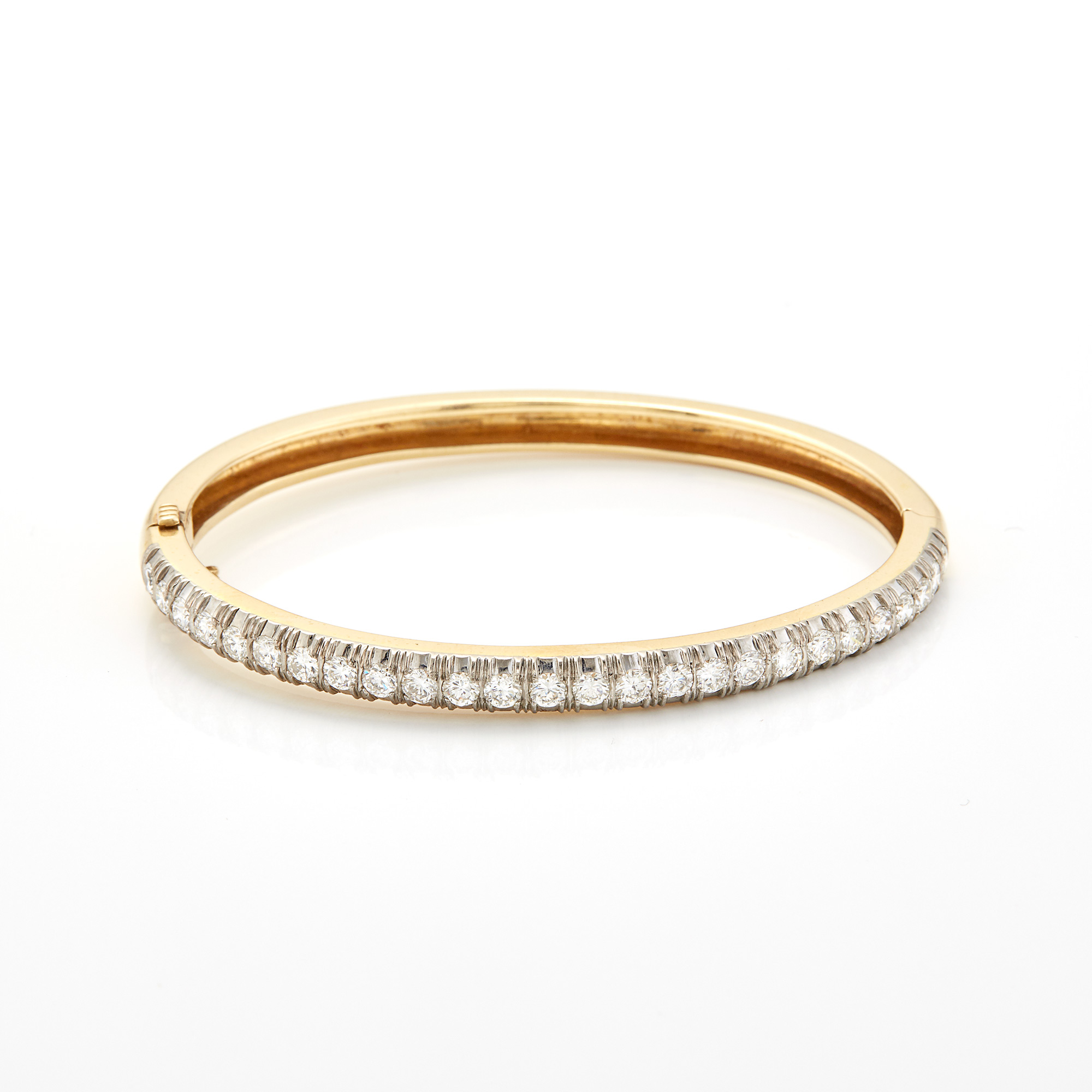 Lot image - Two-Color Gold and Diamond Bangle Bracelet, Laykin