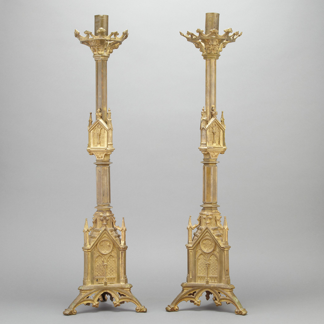 Lot image - Pair of Gothic Revival Gilt-Metal Candlesticks