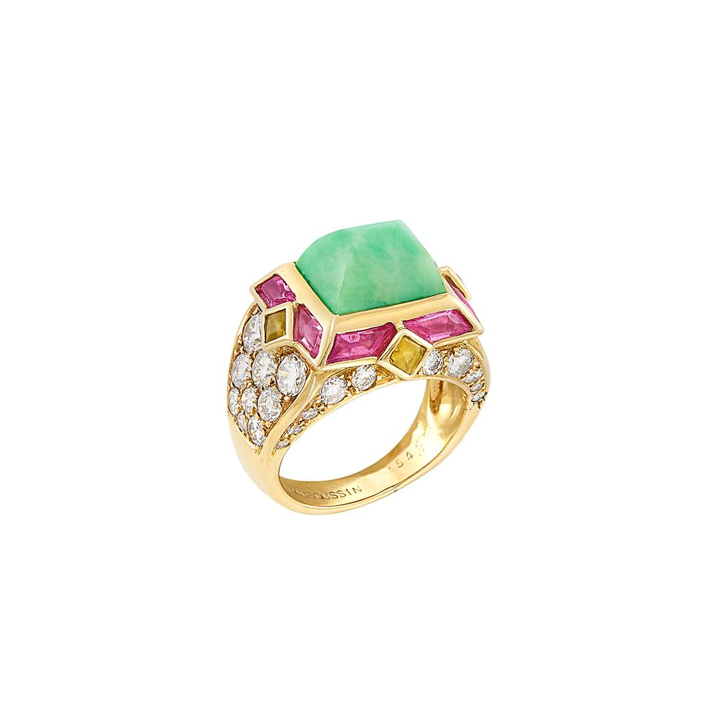 Lot image - Gold, Jade, Cabochon Pink Tourmaline and Citrine and Diamond Ring, Mauboussin, France