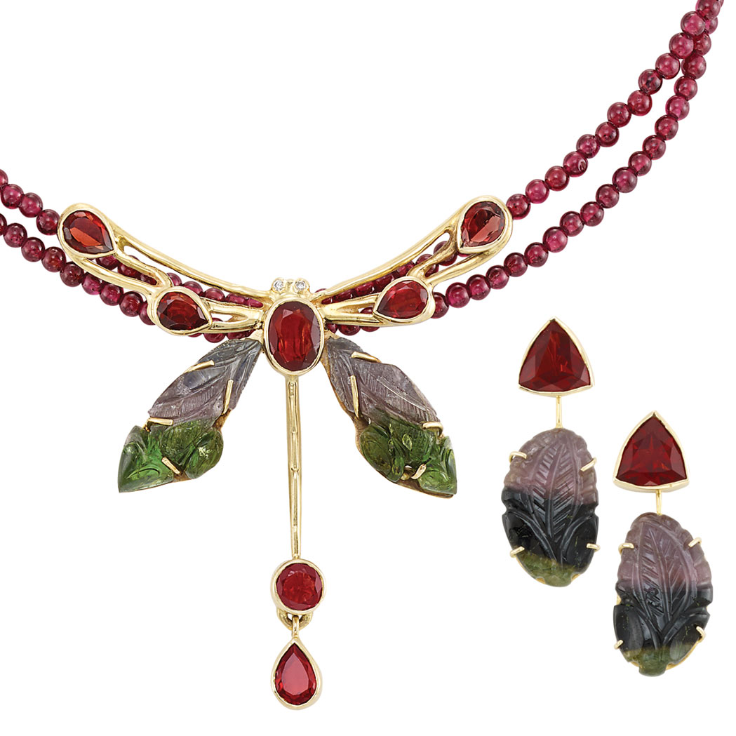 Lot image - Gold, Tricolor Tourmaline, Garnet and Diamond Dragonfly and Garnet Bead Pendant-Necklace and Pair of Pendant-Earrings