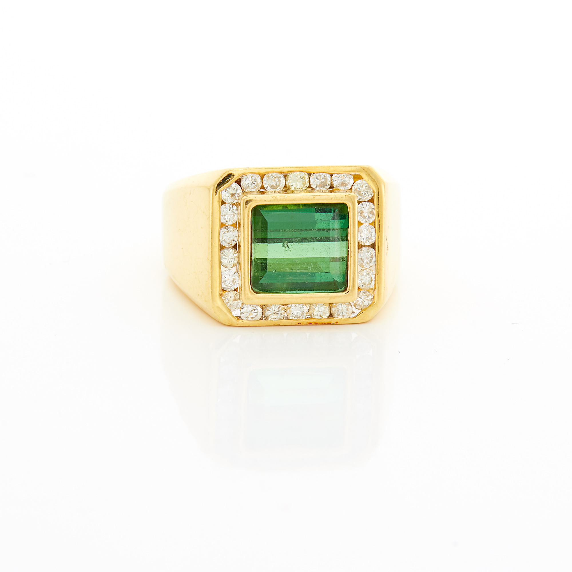 Lot image - Gold, Tourmaline and Diamond Ring