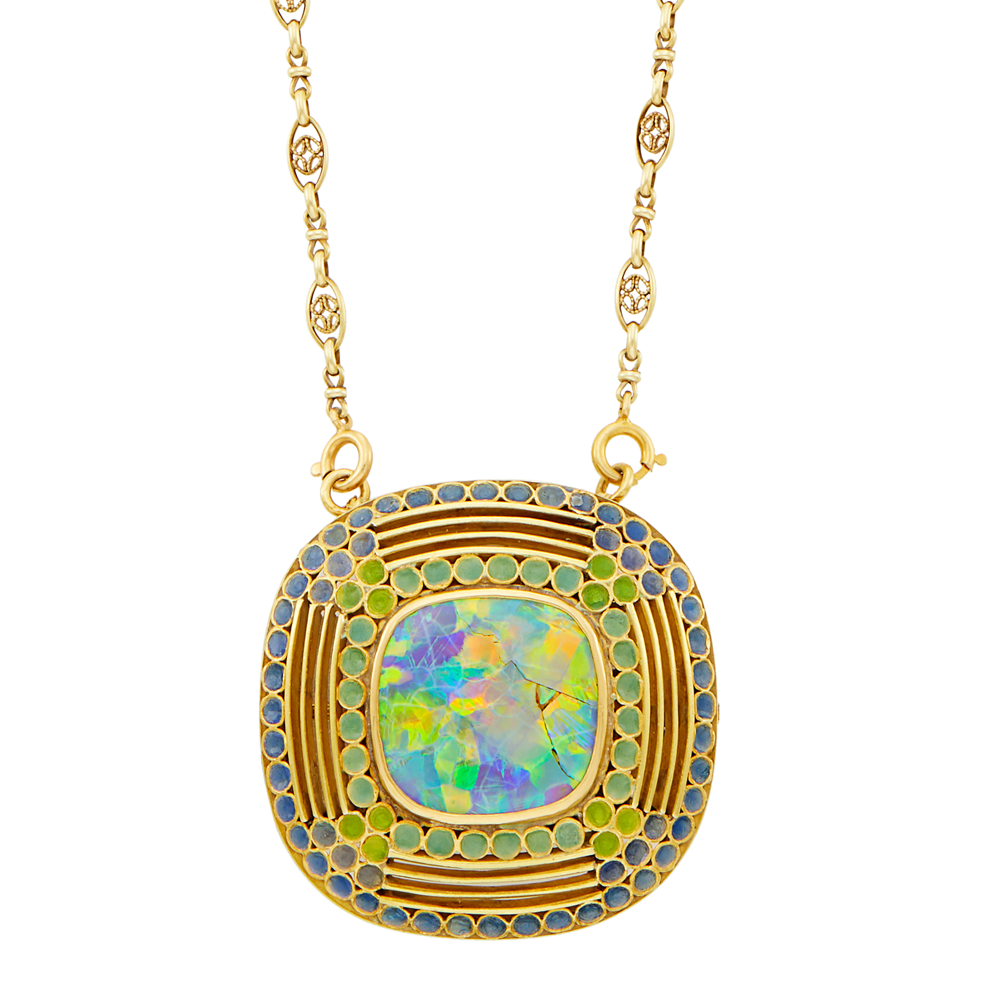Lot image - By Louis Comfort Tiffany for Tiffany & Co. Art Nouveau Gold, Opal and Enamel Pendant-Brooch Necklace