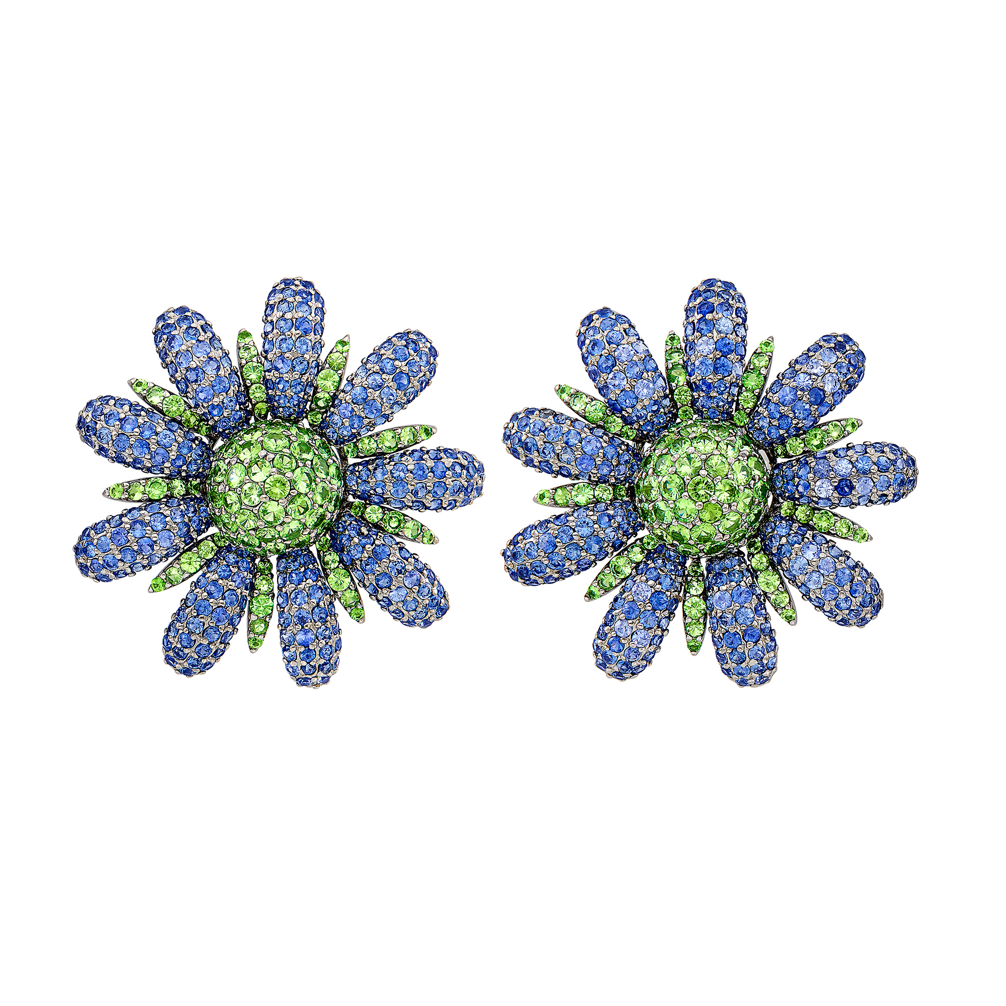 Lot image - Pair of Blackened Gold, Green Garnet and Sapphire Flower Earclips