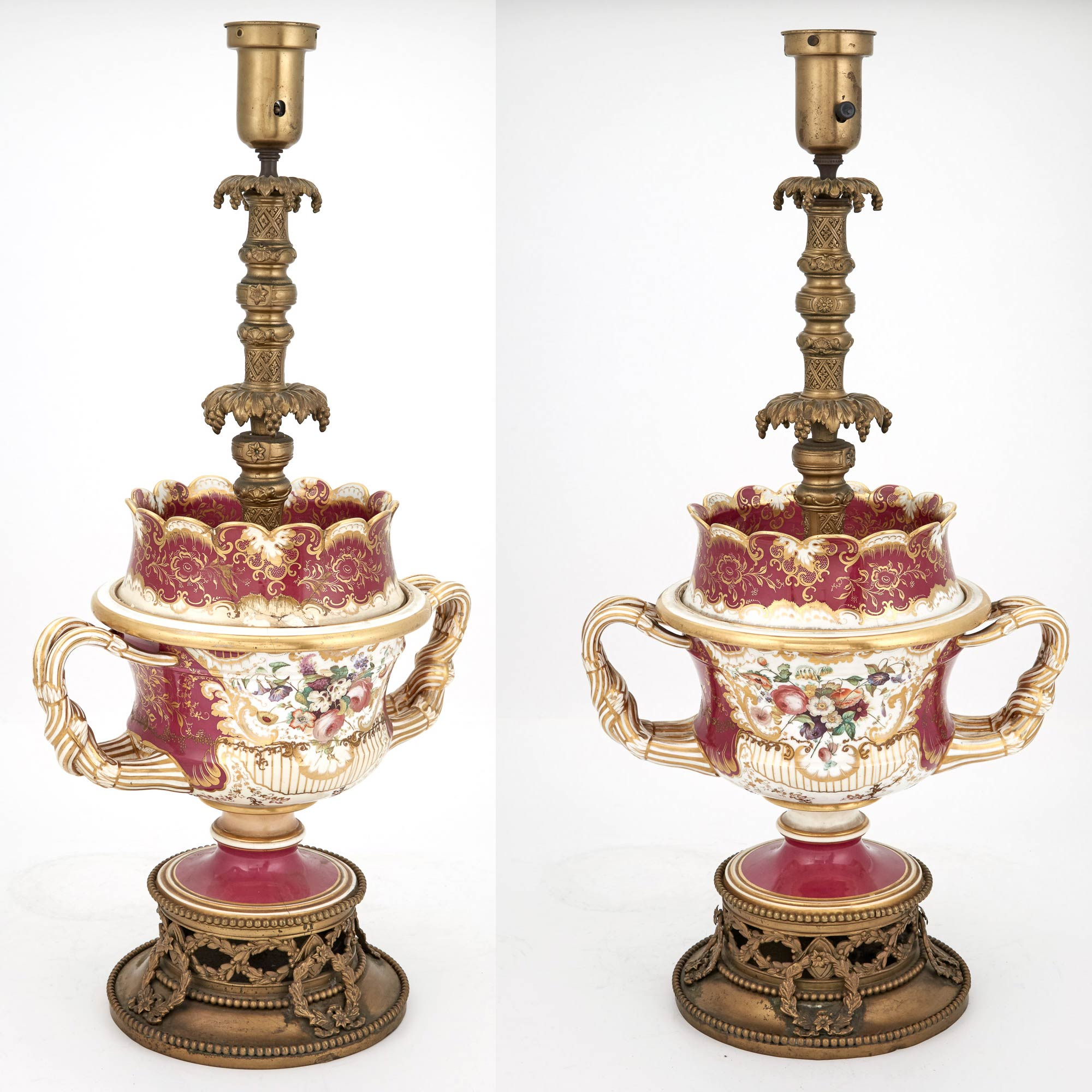 Lot image - Pair of Gilt-Metal Mounted English Porcelain Fruit Coolers as Lamps