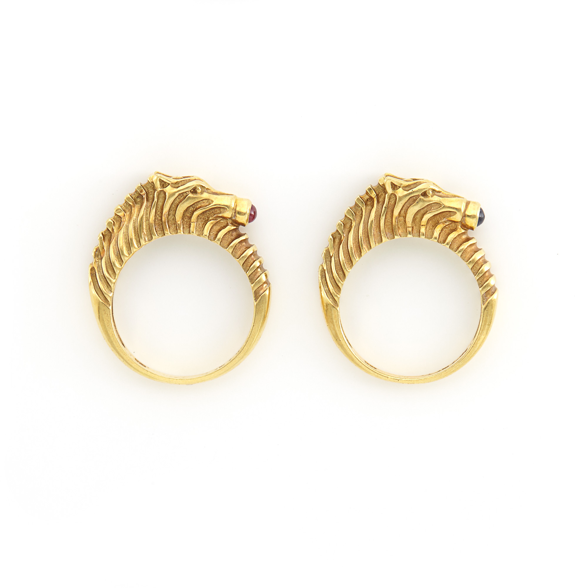 Lot image - Pair of Gold Zebra Rings, Judith Leiber