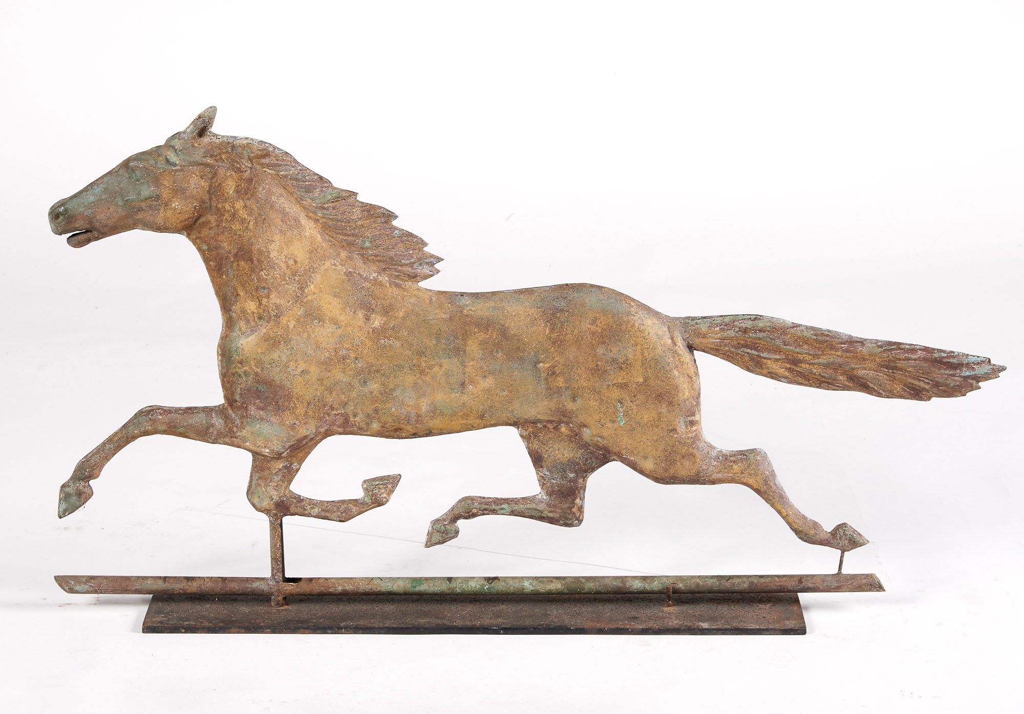 Lot image - Gilt Copper and Zinc Running Horse Weathervane