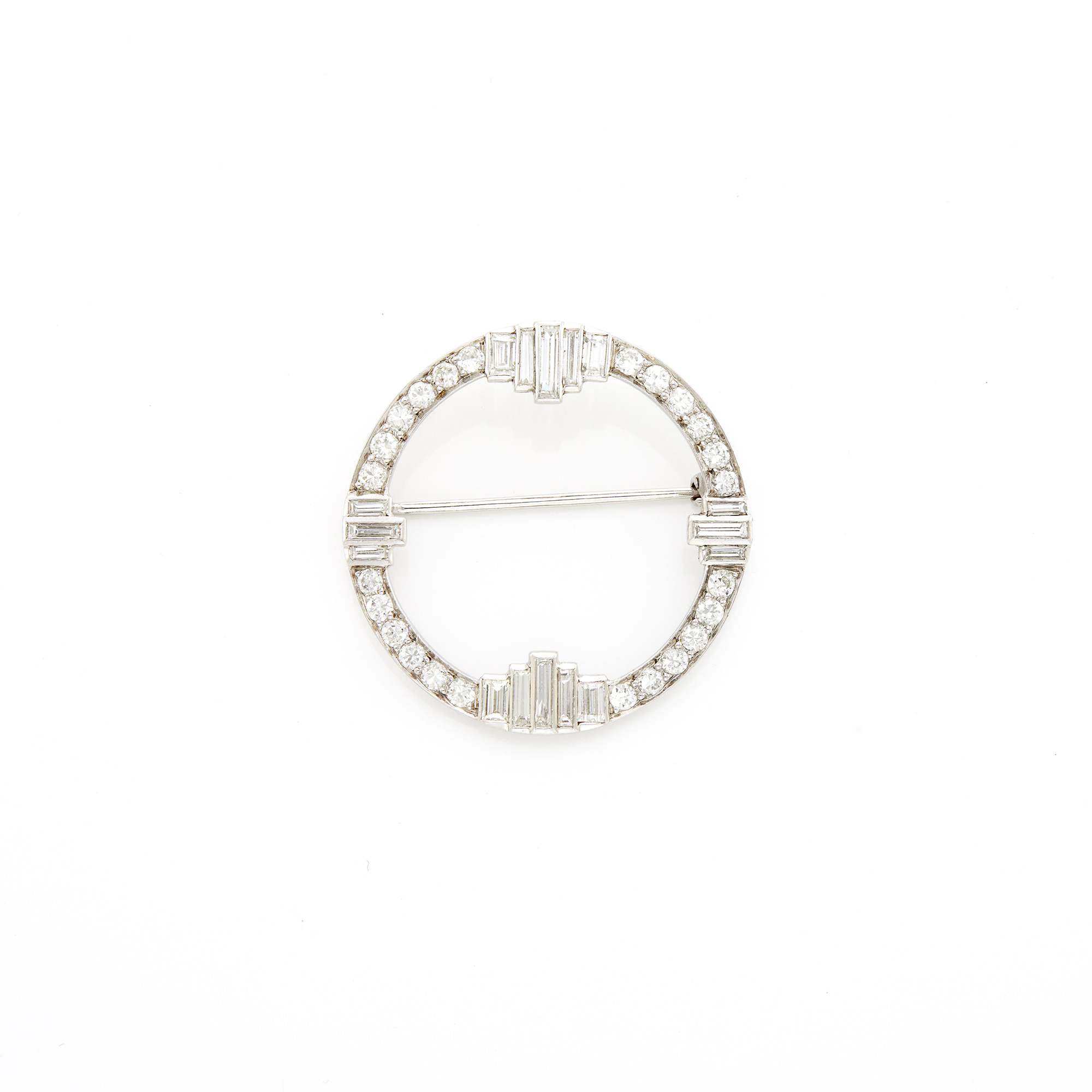 Lot image - Platinum and Diamond Circle Brooch