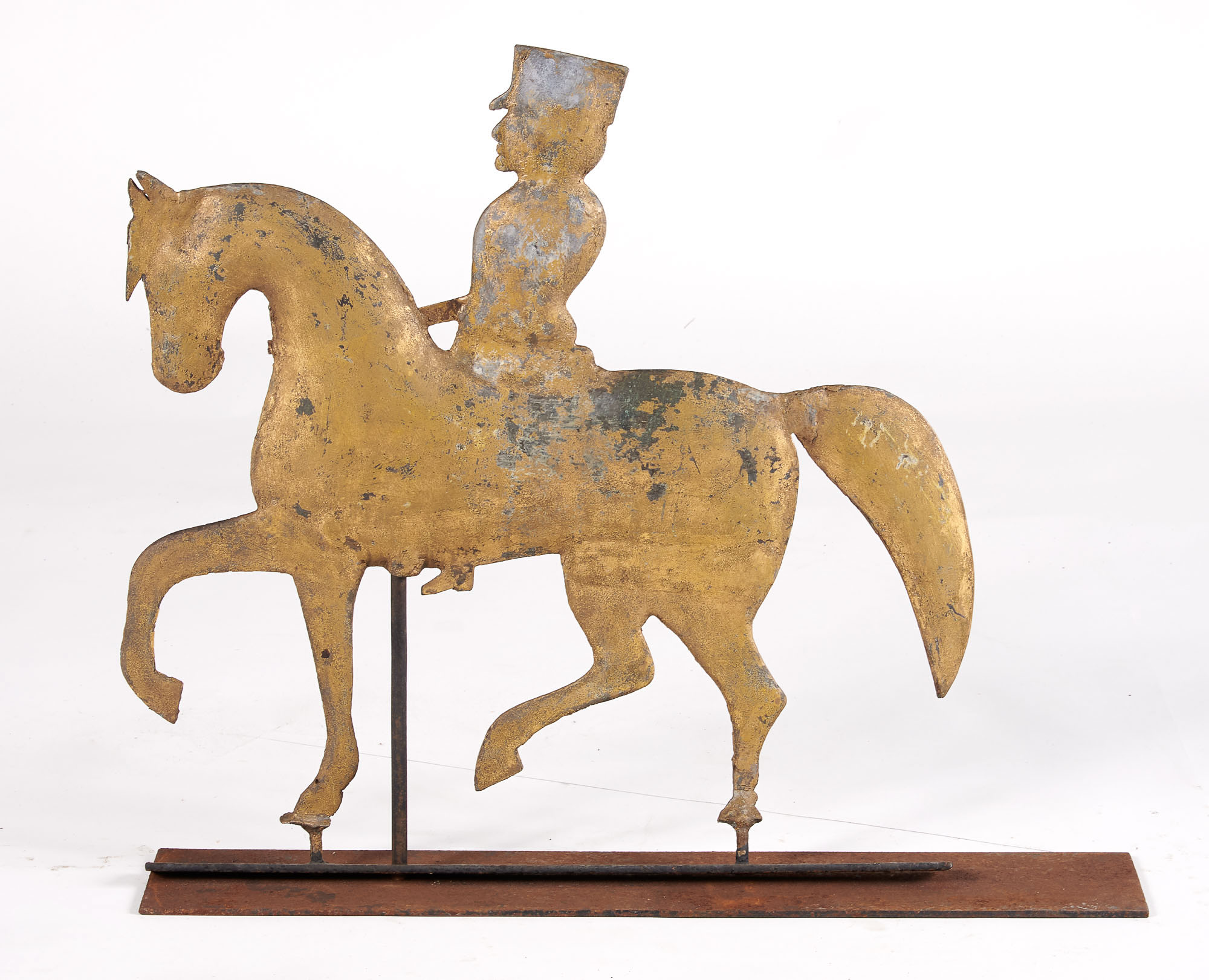 Lot image - Painted Metal Horse and Rider Weathervane