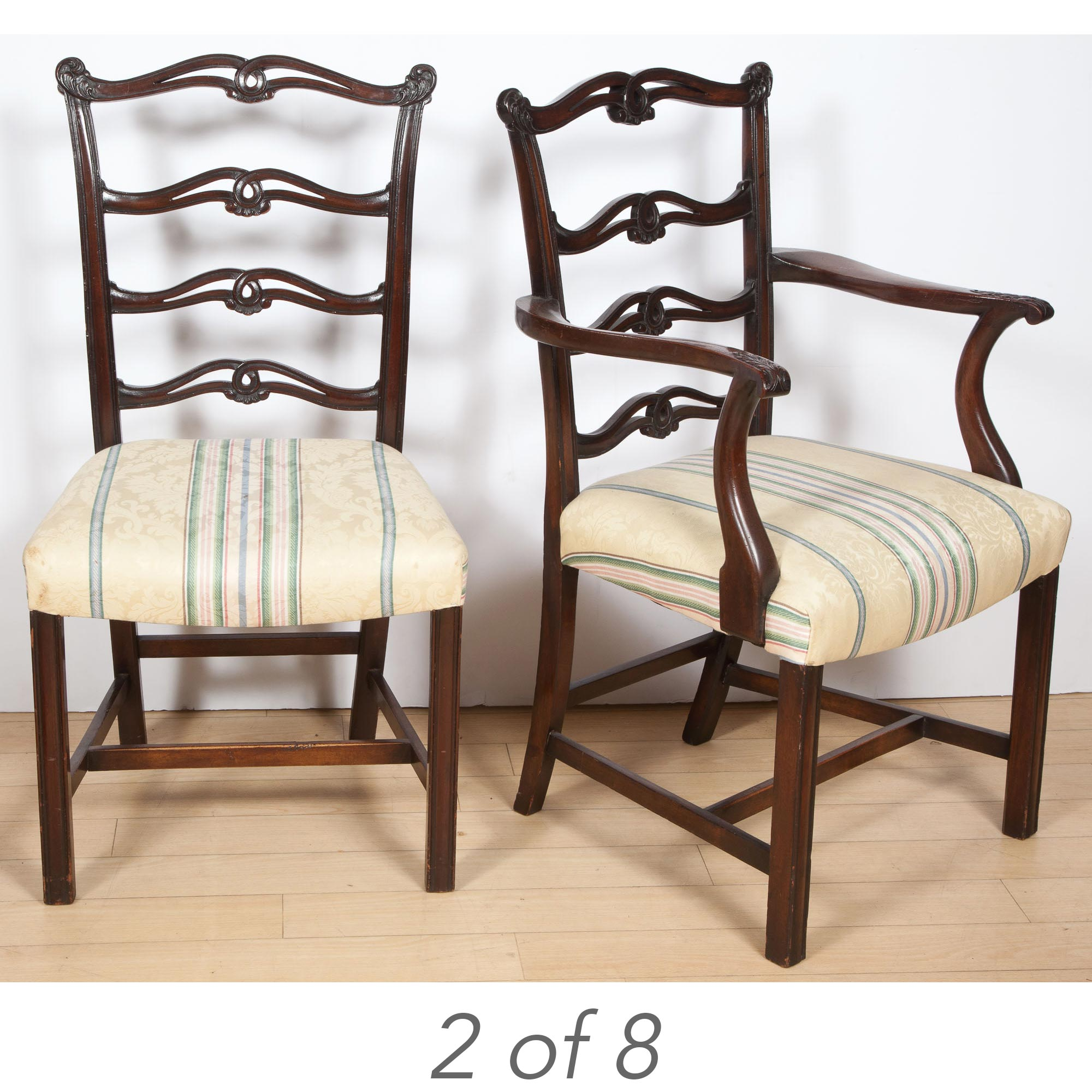 Lot image - Set of Eight George III Style Mahogany Ribbon-Back Dining Chairs
