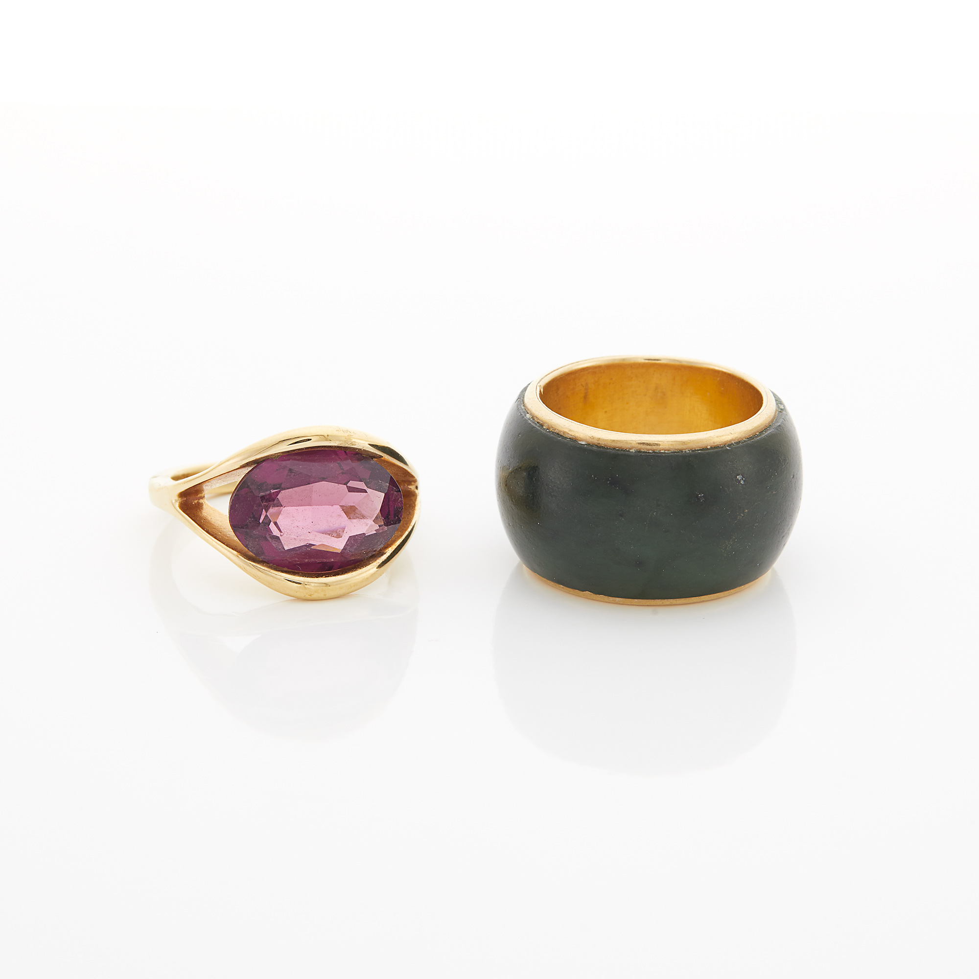 Lot image - Gold and Amethyst Ring and Jade Band Ring