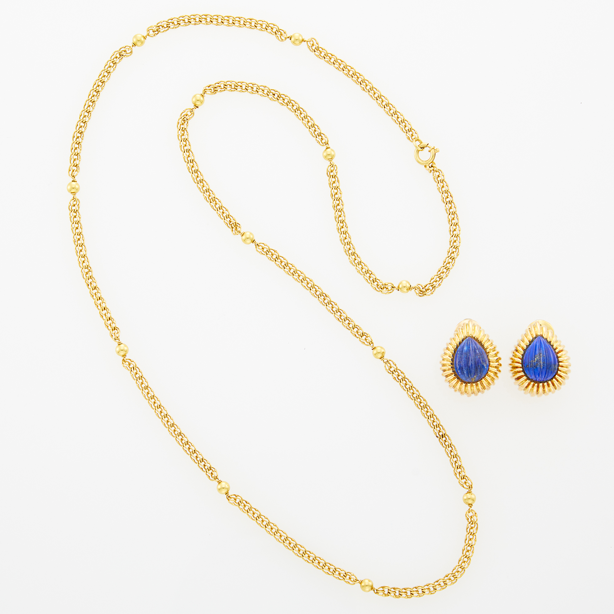 Lot image - Gold Chain Necklace and Pair of Gold and Carved Lapis Earclips