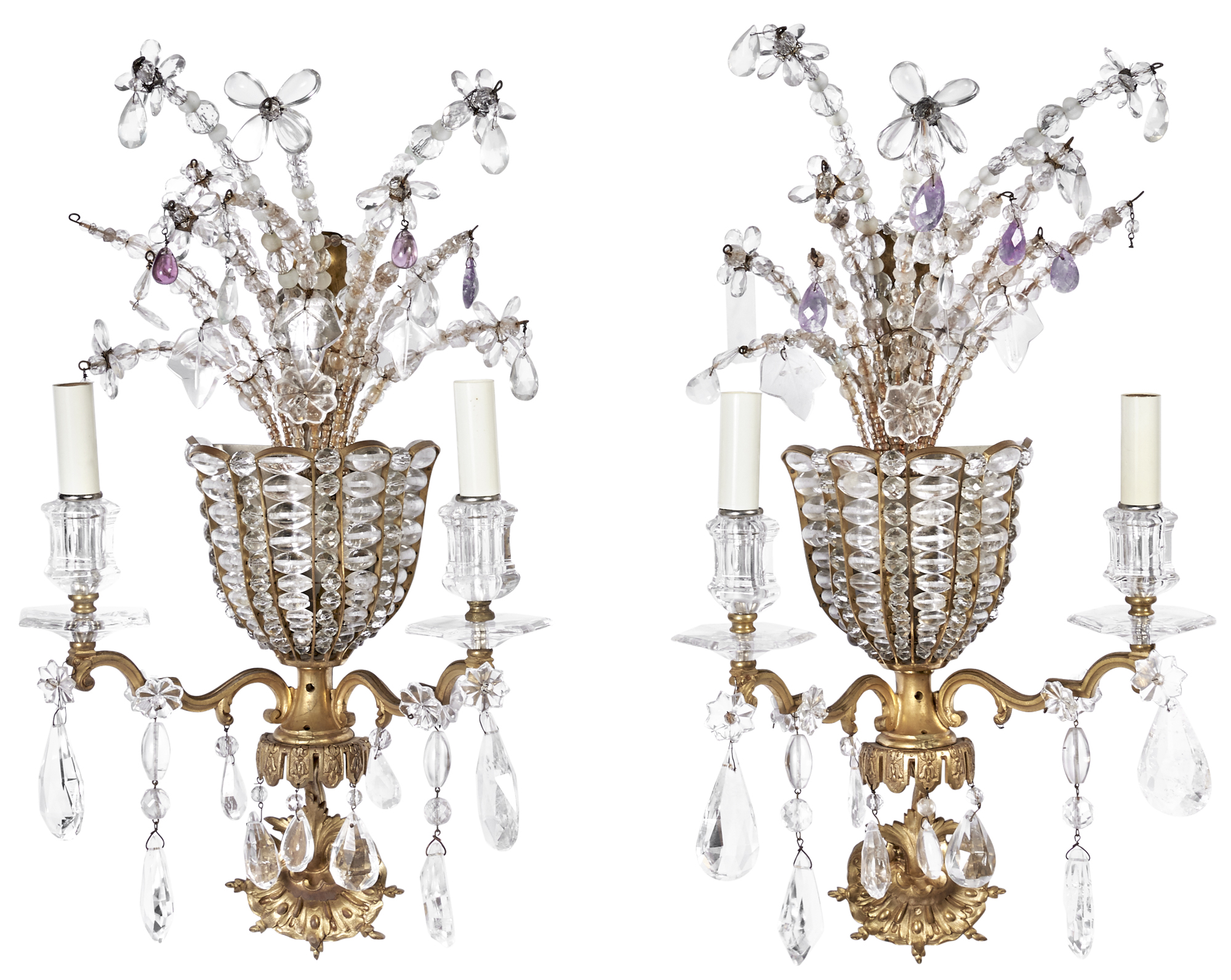 Lot image - Pair of Louis XIV Style Gilt-Metal and Glass Two-Light Sconces