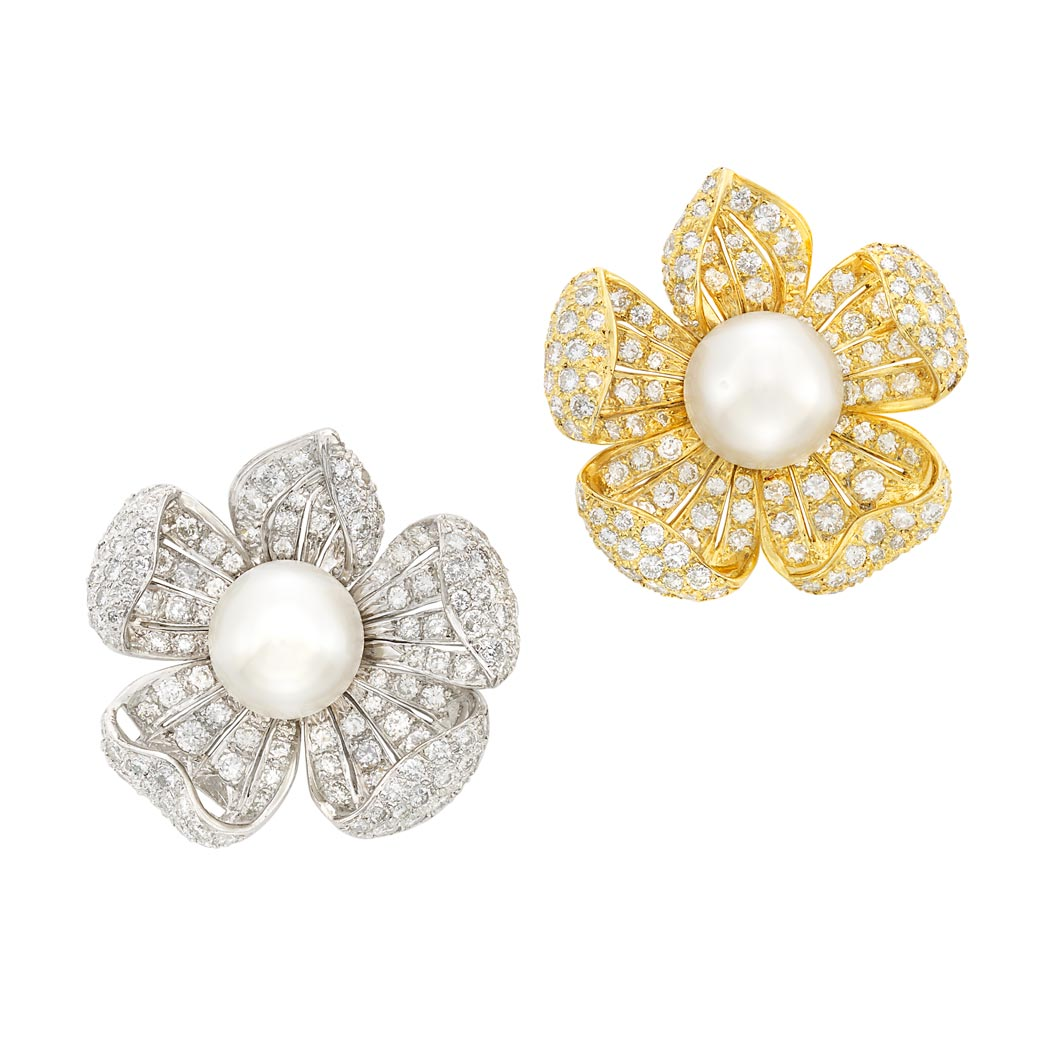 Lot image - Pair of Platinum, Gold-Plated Platinum, South Sea Cultured Pearl and Diamond Flower Brooches