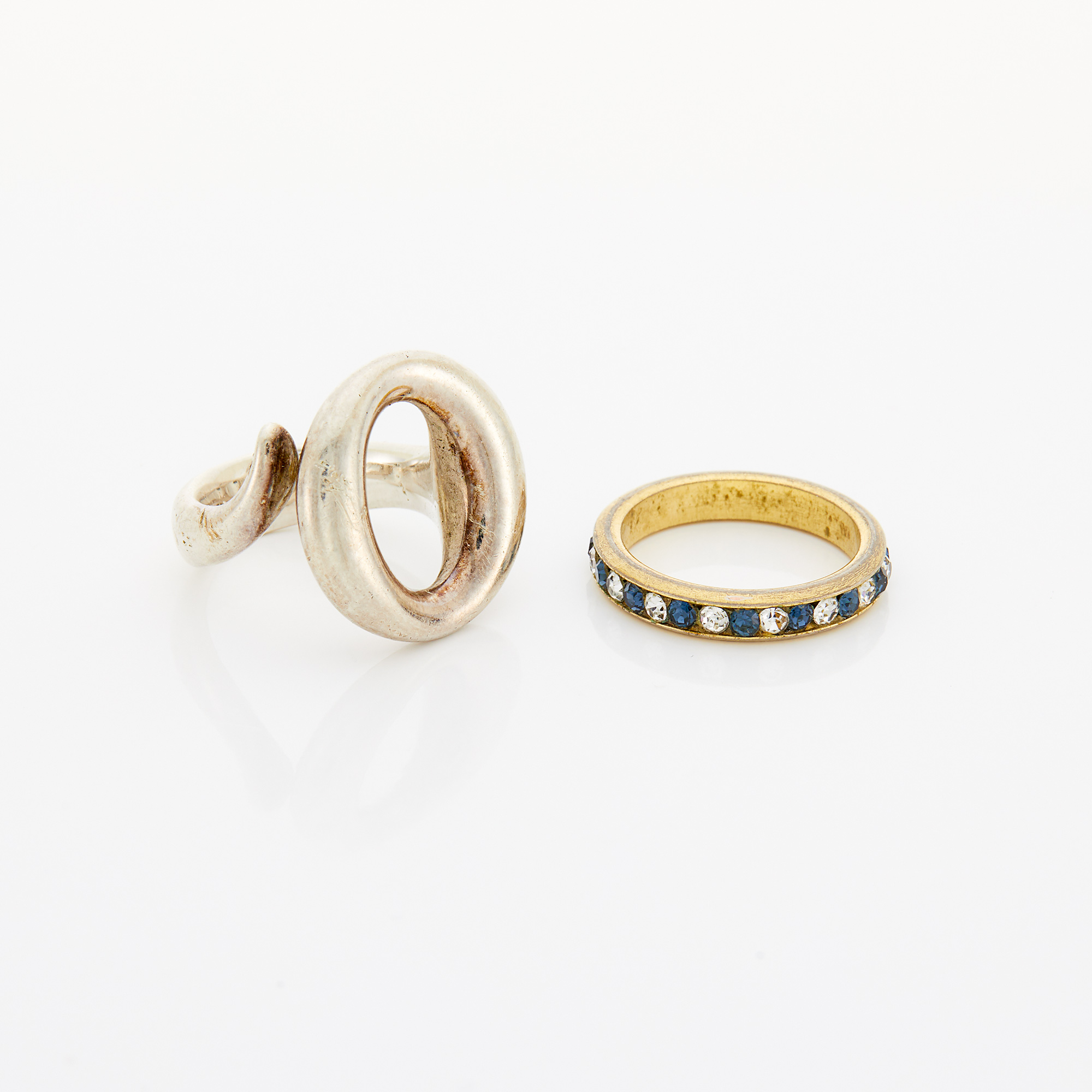 Lot image - Silver Ring, Tiffany & Co., Elsa Peretti, and Low Karat Gold, Synthetic Sapphire and Synthetic Diamond Band Ring