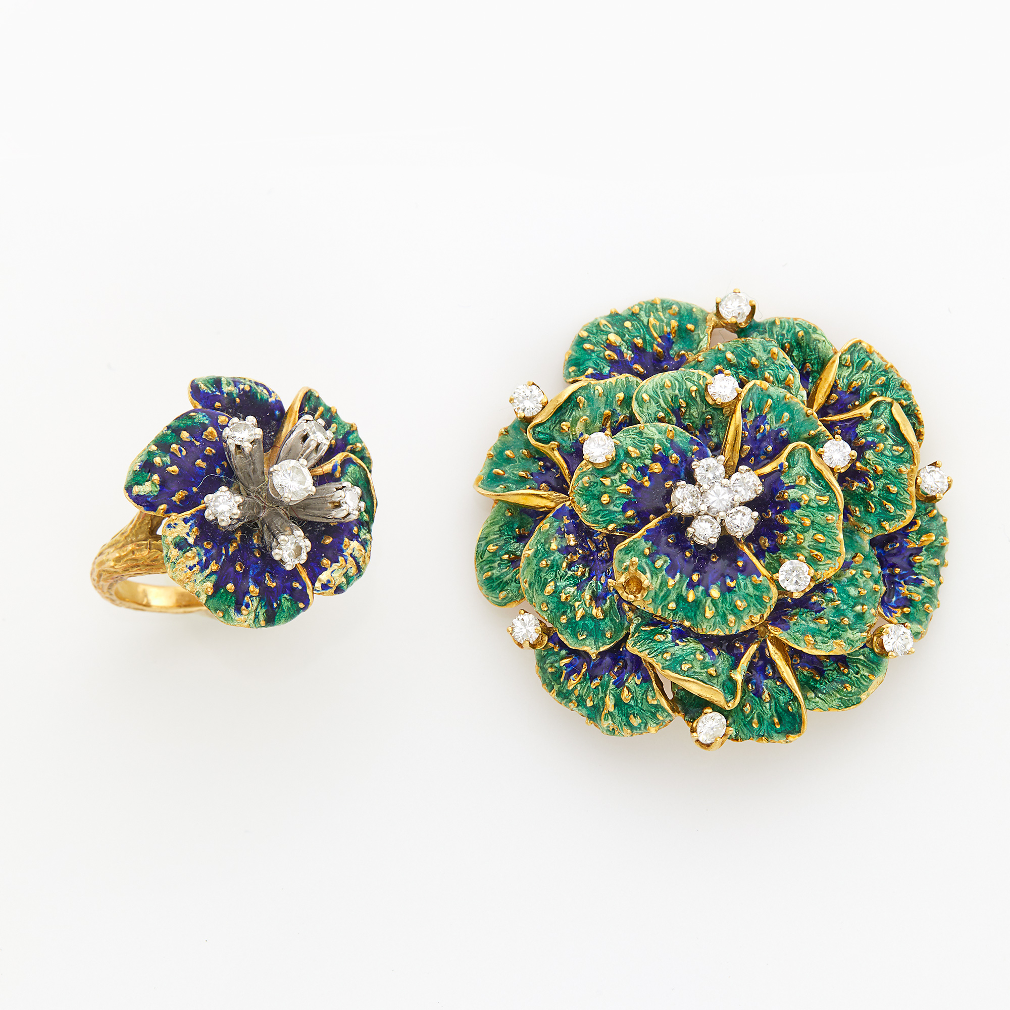 Lot image - Gold, Enamel and Diamond Flower Pin and Ring