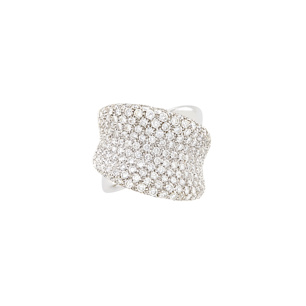 Lot image - Wide White Gold and Diamond Ring