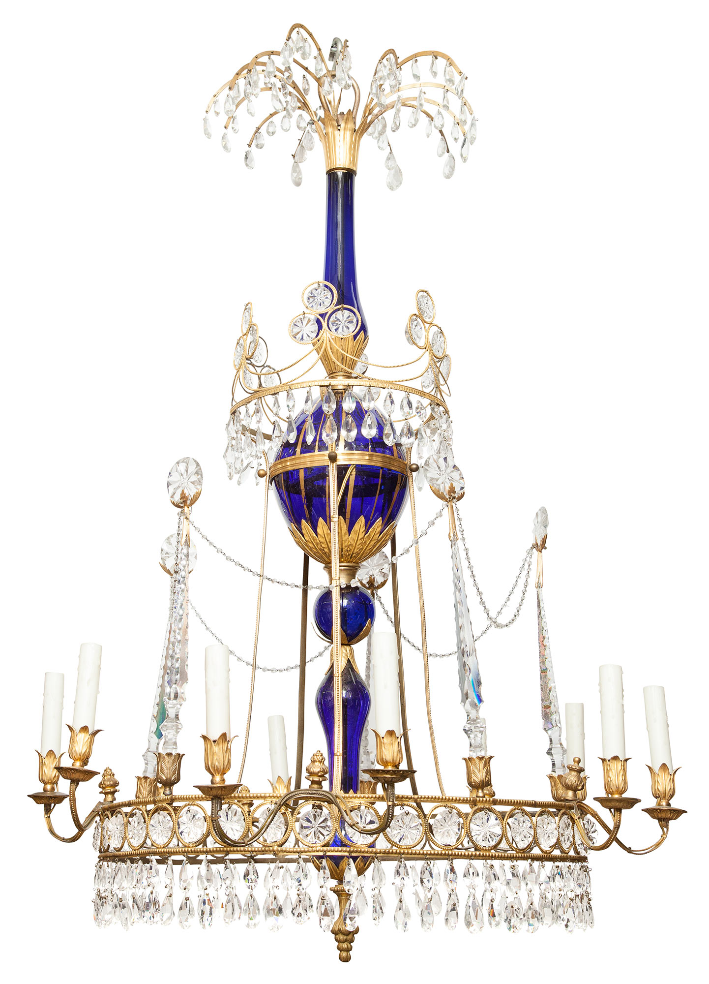 Lot image - Northern European Neoclassical Gilt-Metal, Blue and Clear Glass Ten-Light Chandelier