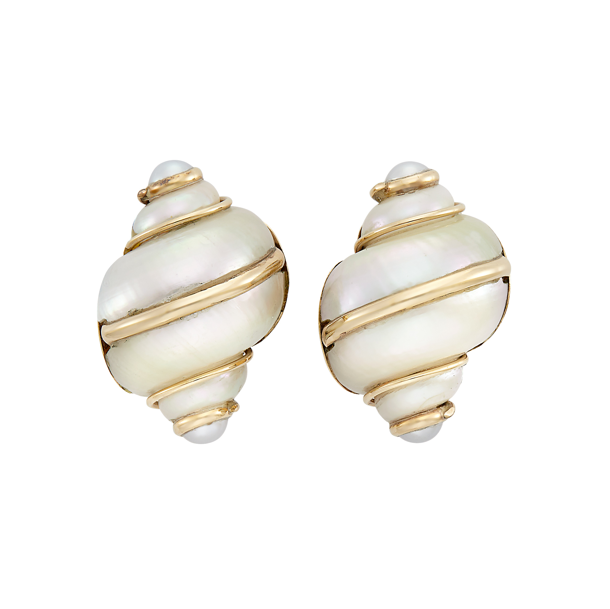 Lot image - Pair of Gold, Shell and Cultured Pearl Earclips, Maz