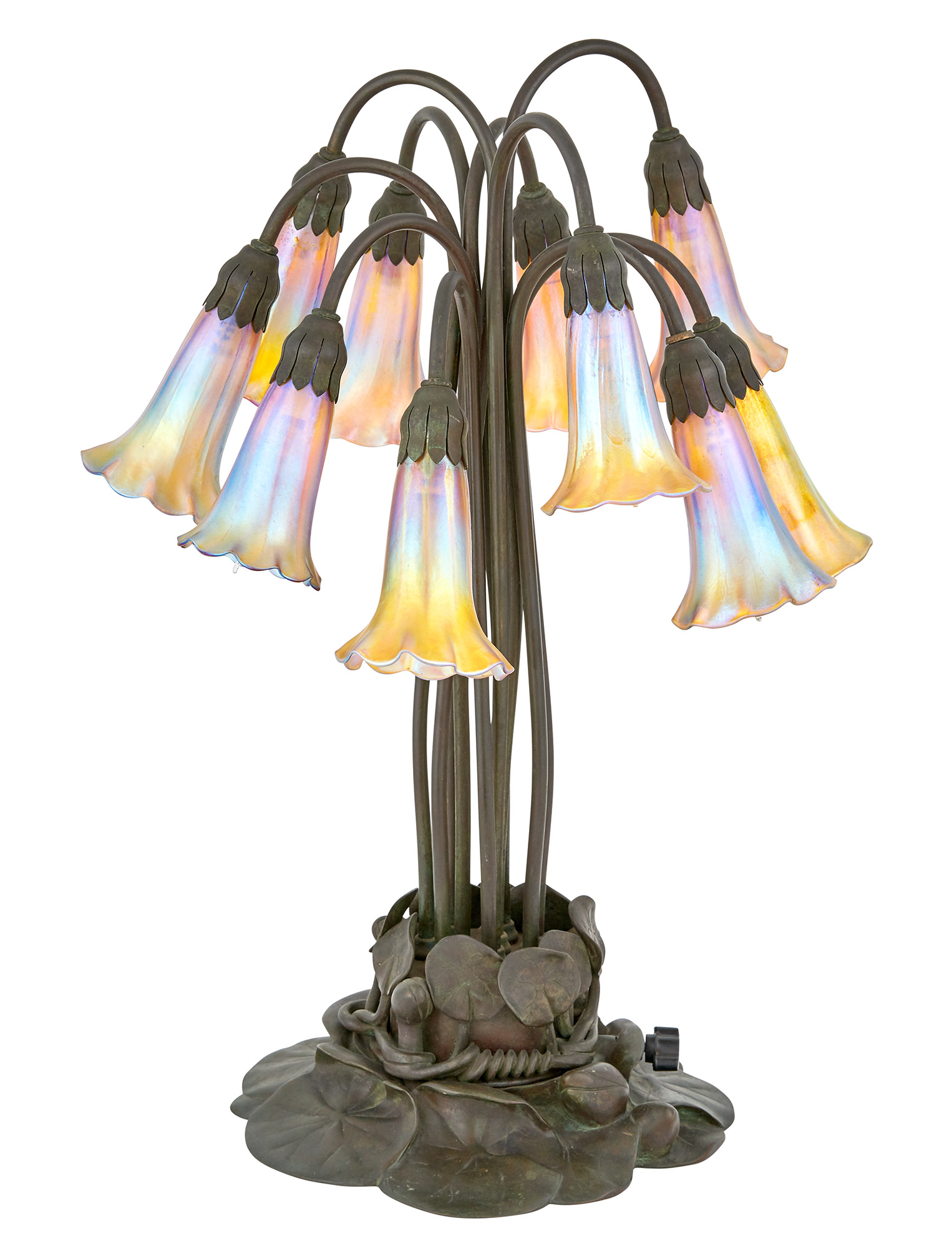 Lot image - Tiffany Studios Bronze and Gold Favrile Glass Ten-Light Pond Lily Lamp