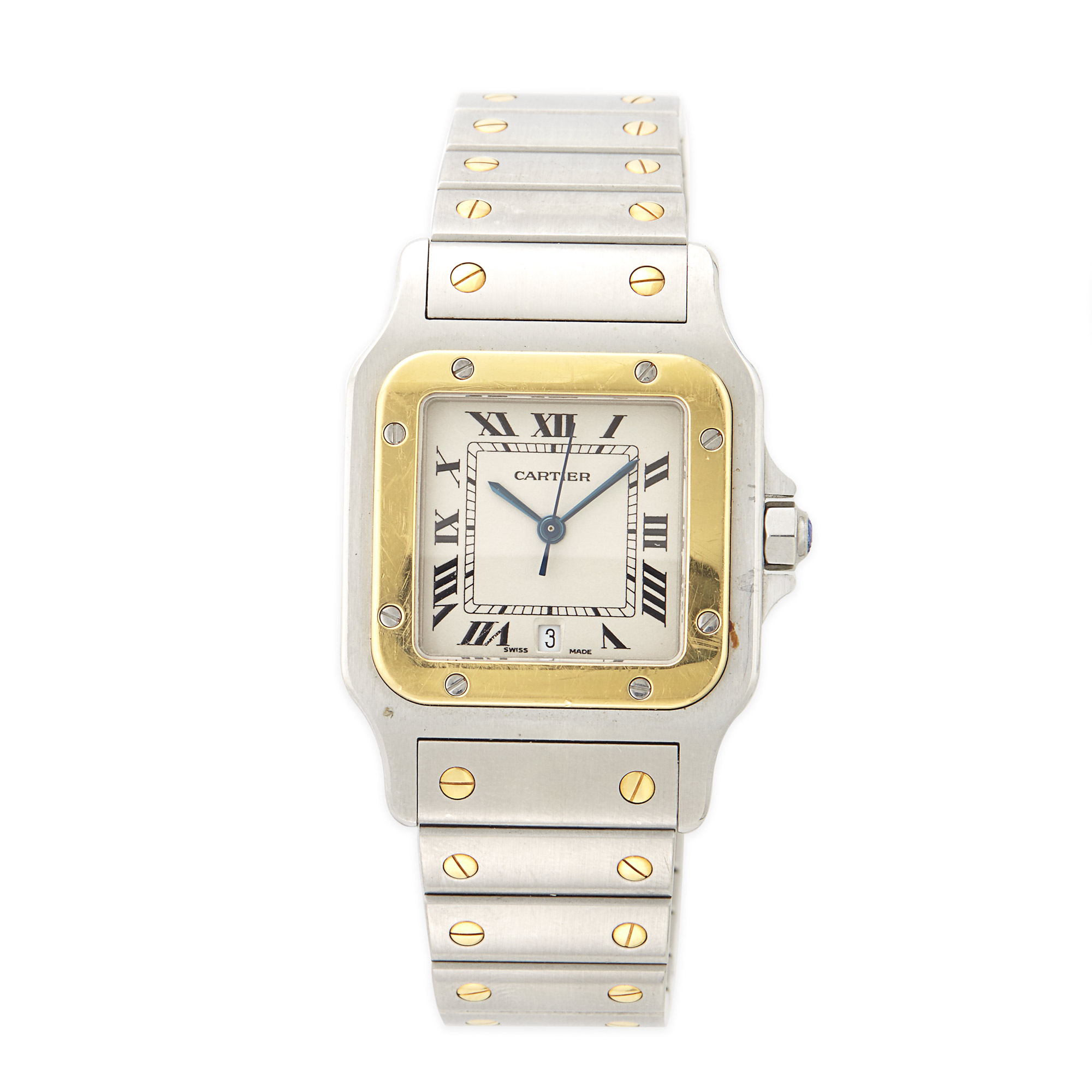 Lot image - Gentlemans Stainless Steel and Gold Santos Wristwatch, Cartier