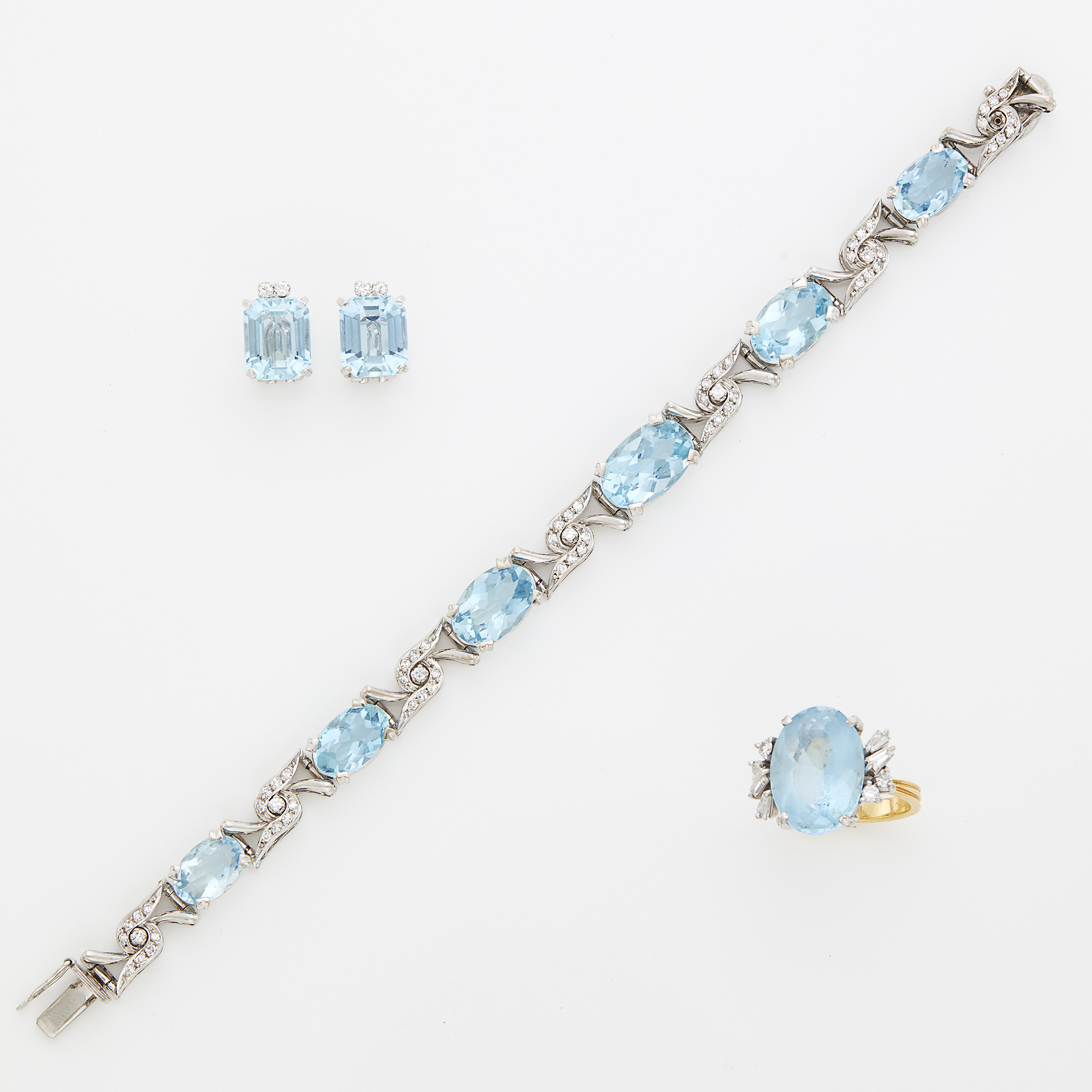 Lot image - White Gold, Aquamarine and Diamond Bracelet, Ring and Pair of Earclips