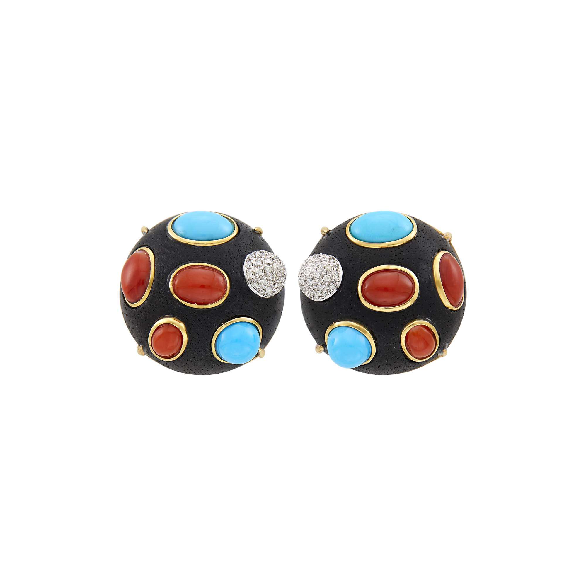 Lot image - Pair of Gold, Wood, Coral, Turquoise, Cultured Pearl and Diamond Earclips
