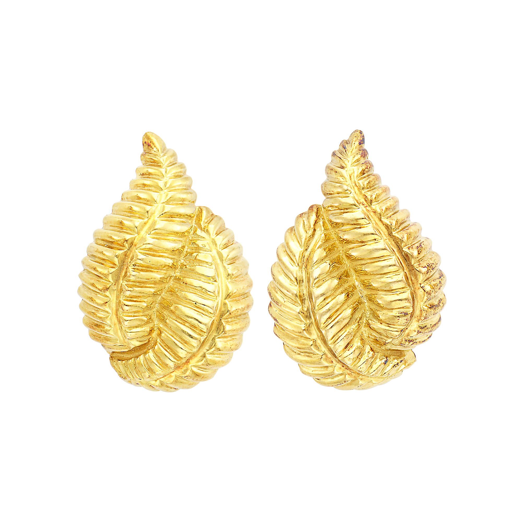 Lot image - Pair of Gold Leaf Earclips, David Webb