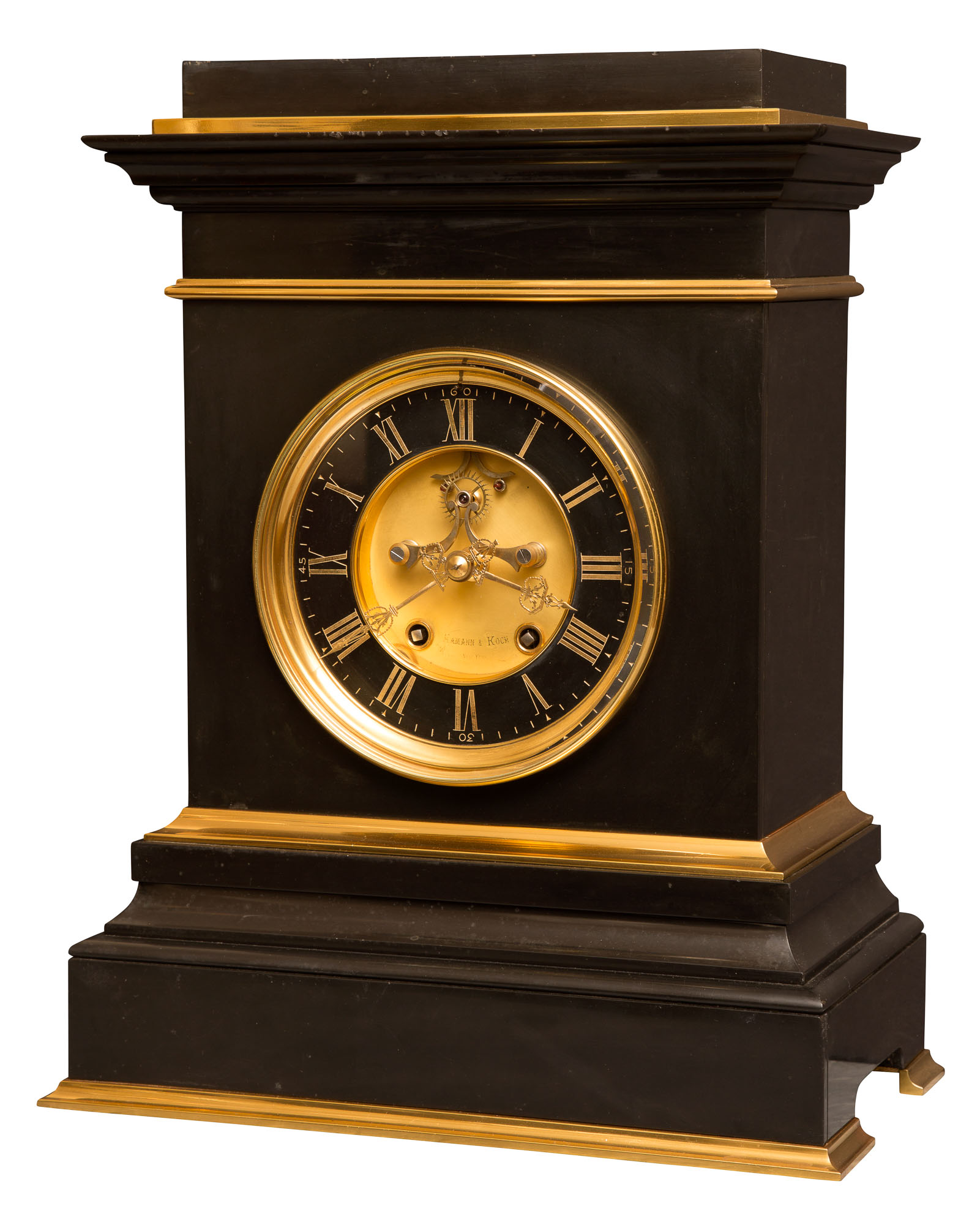 Lot image - Classical Style Gilt-Metal Mounted Black Marble Mantel Clock