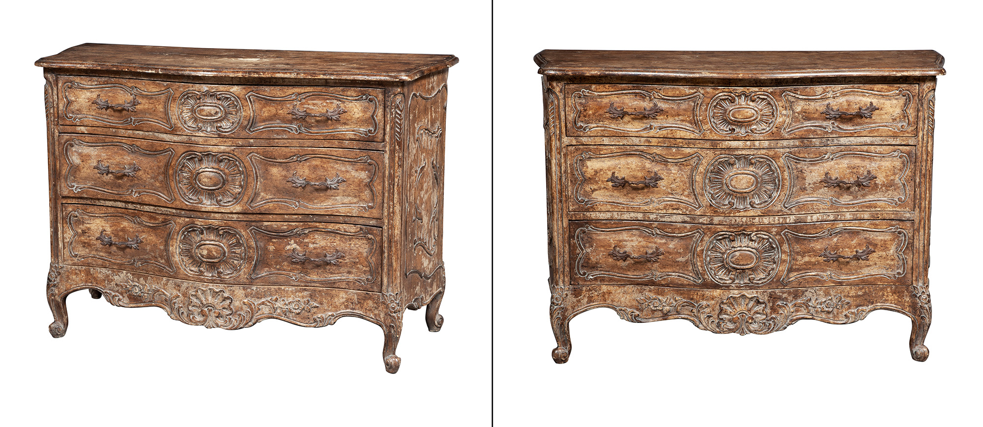 Lot image - Pair of Rococo Style Painted Commodes