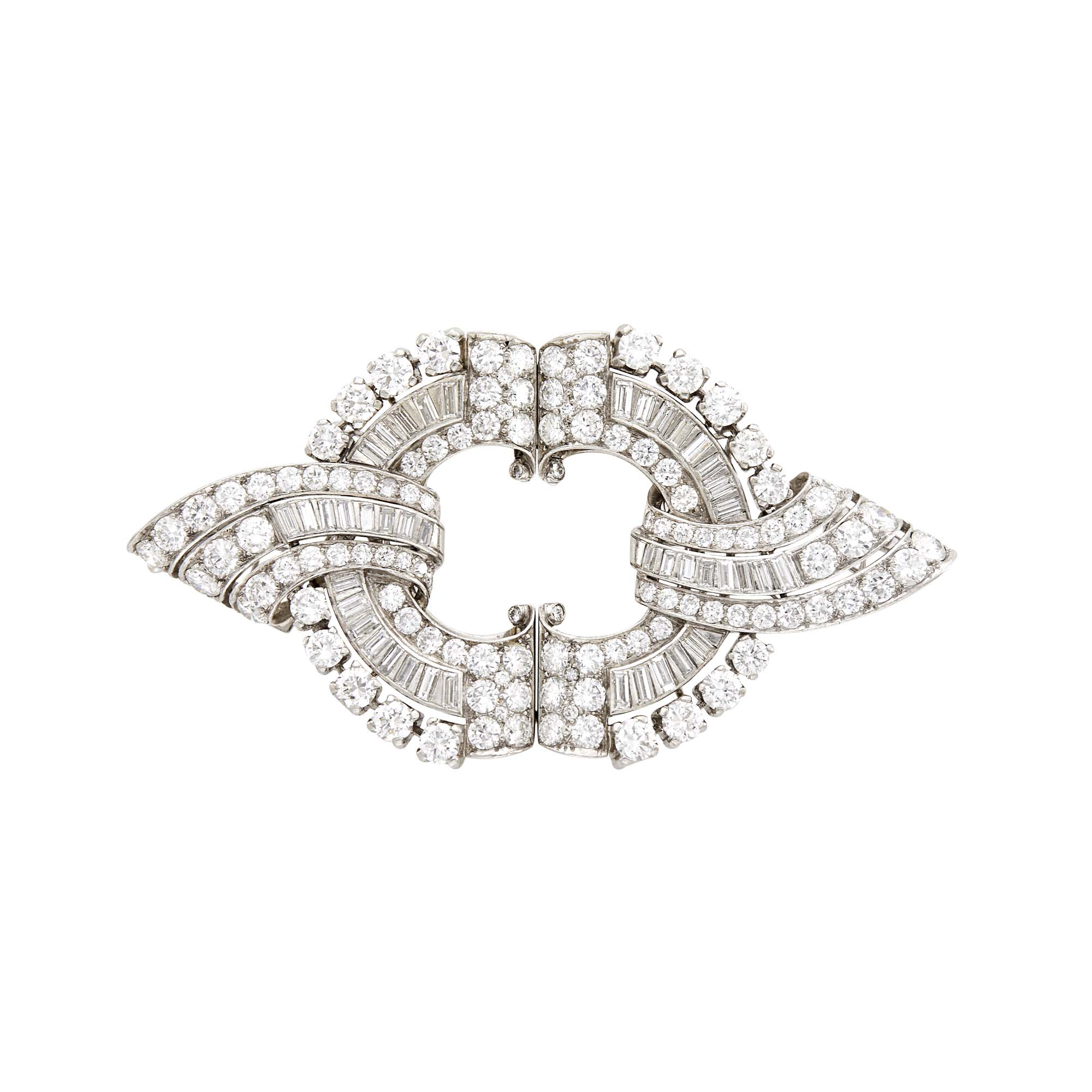 Lot image - Platinum and Diamond Double Clip-Brooch