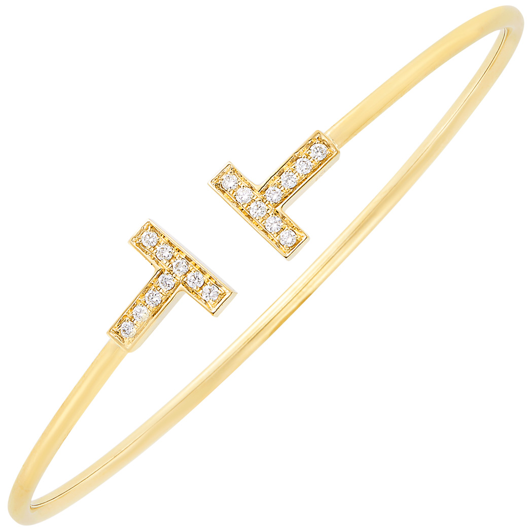 Lot image - Gold and Diamond 'T' Bangle Bracelet, Tiffany & Co.