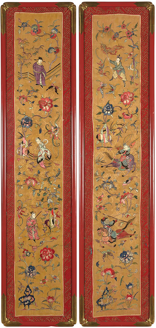 Lot image - Pair of Chinese Embroidered Silk Panels
