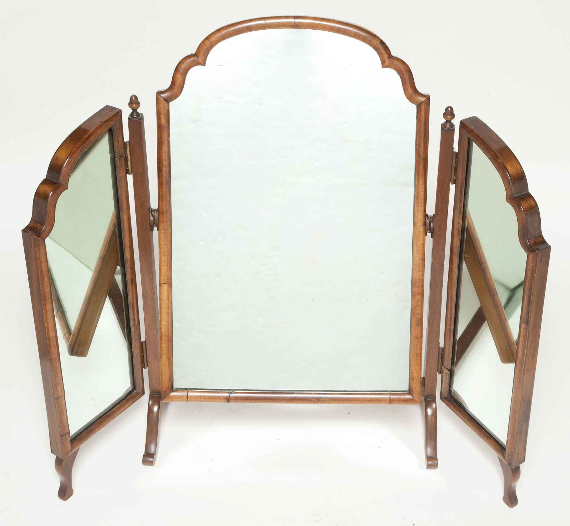 Lot image - Georgian Style Walnut Folding Shaving Mirror on Stand
