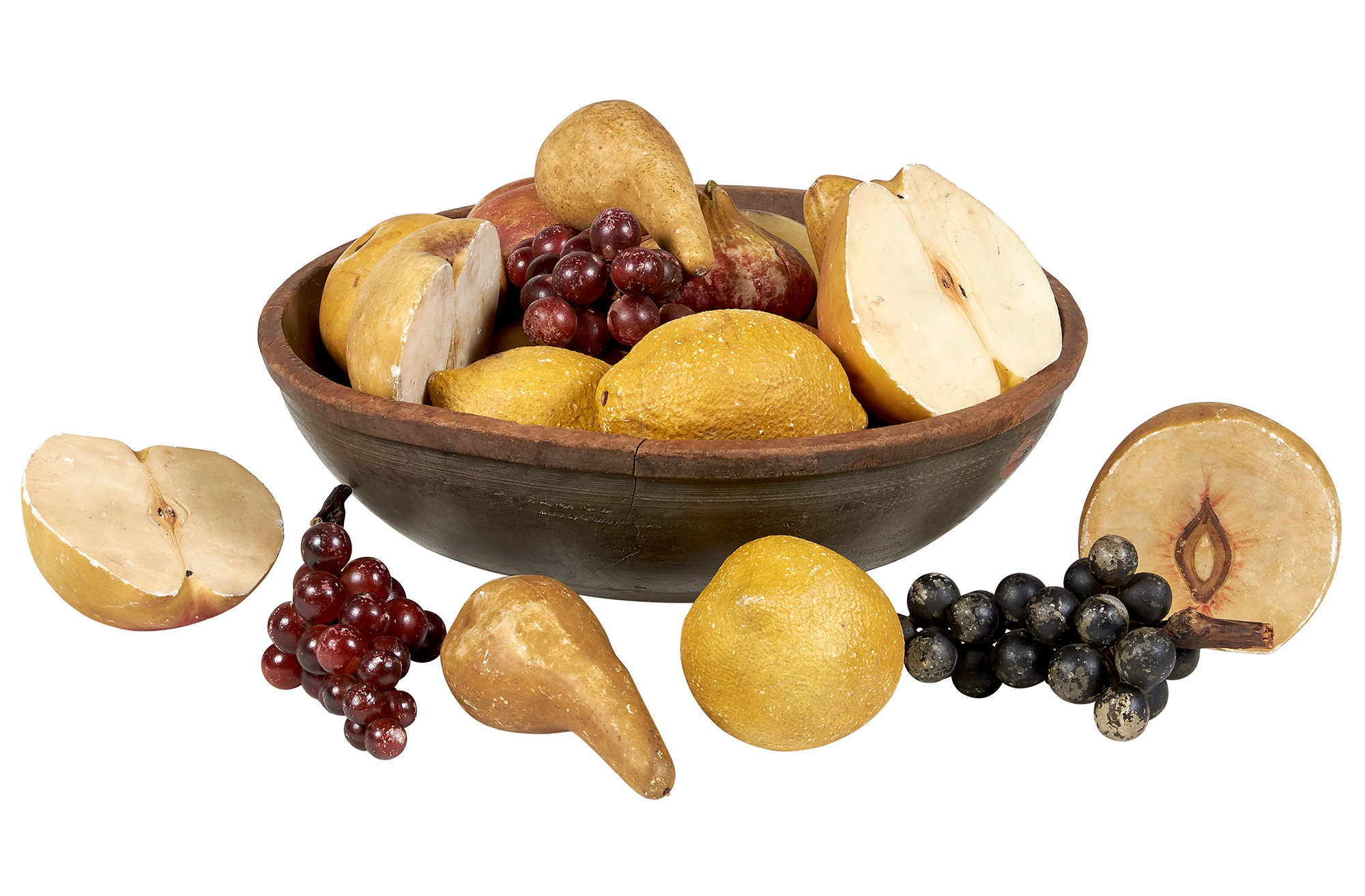 Lot image - Collection of Oversized Stone Fruit and Vegetables in a Large Painted Turned Wood Bowl