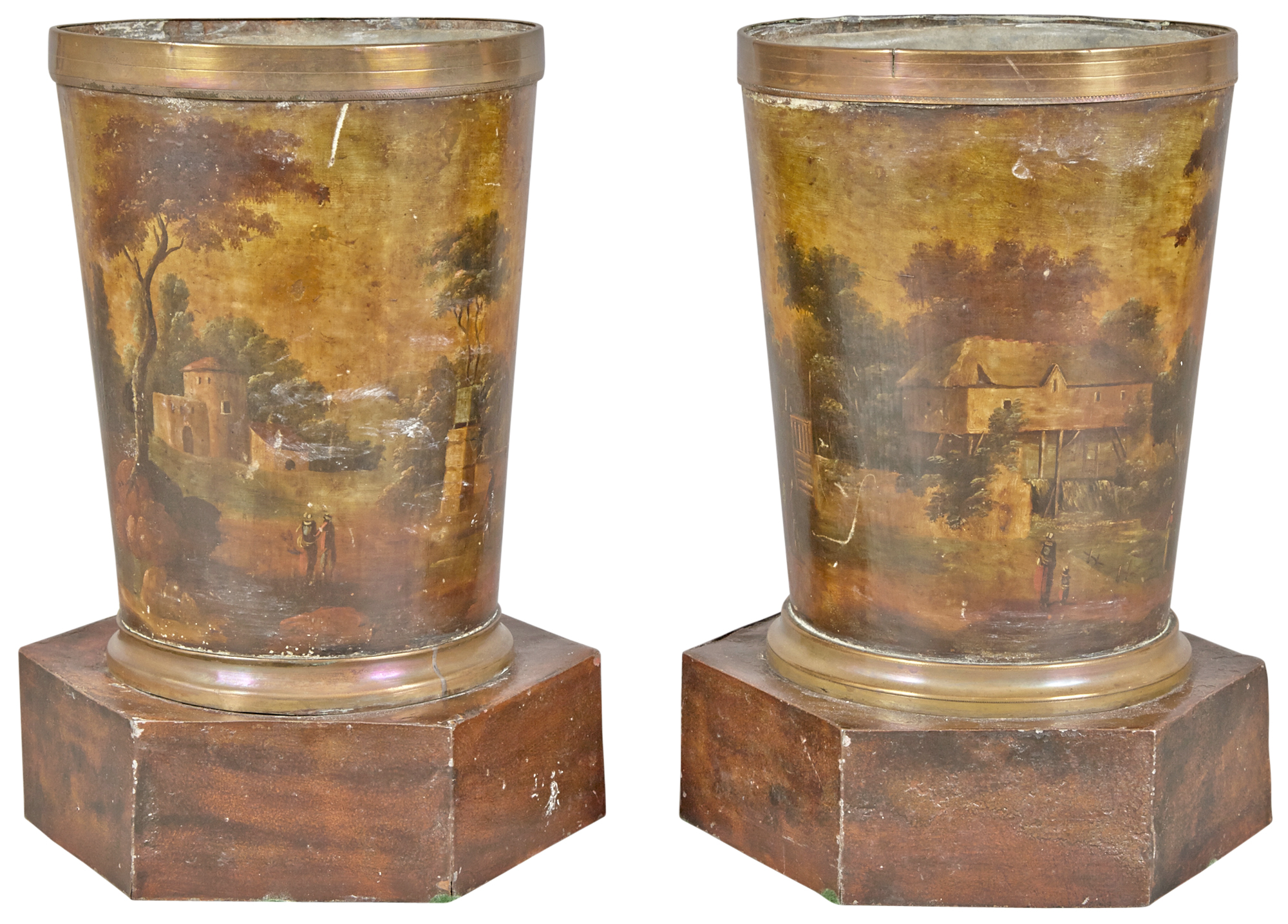 Lot image - Pair of Pontypool Tole Peinte Vases