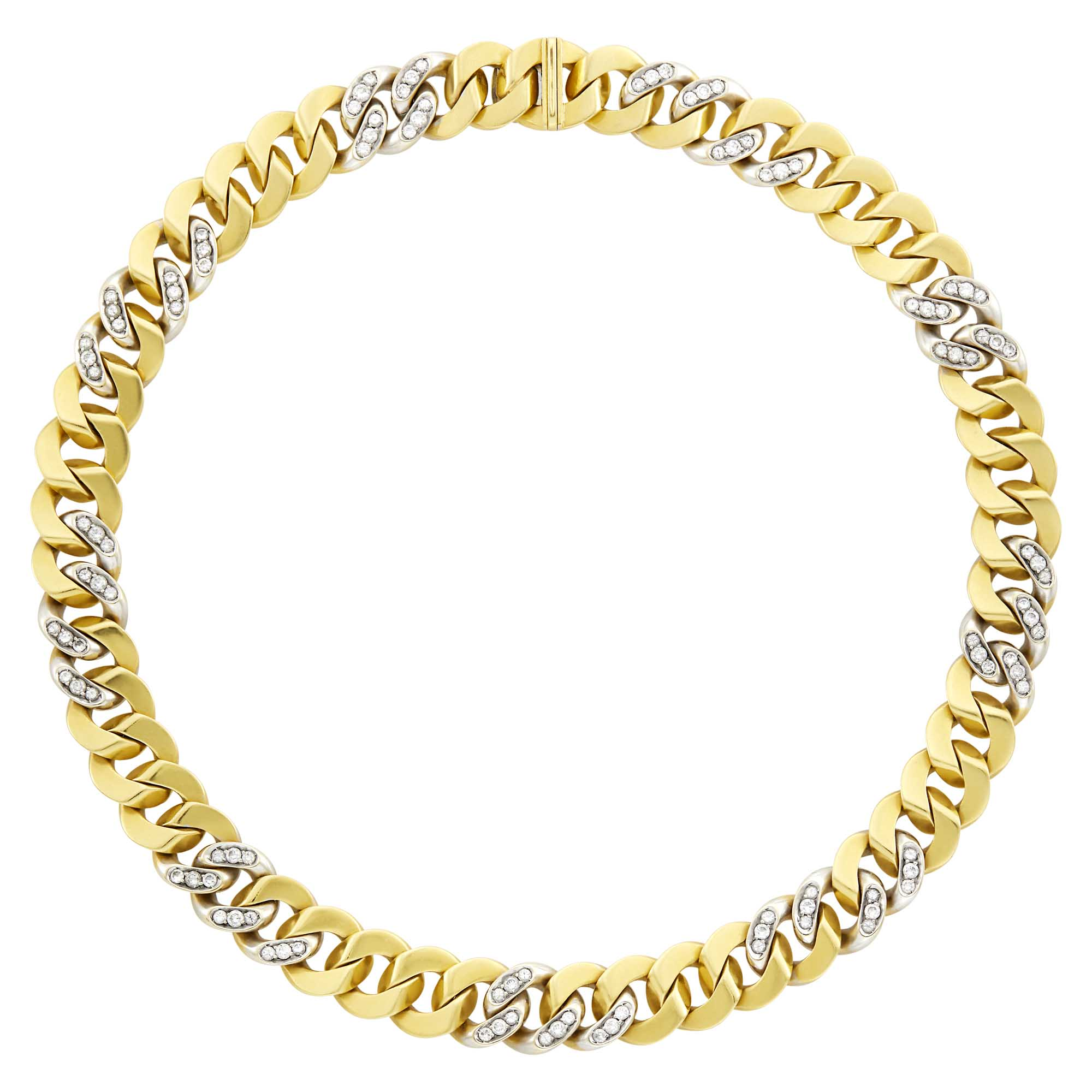 Lot image - Faraone Two-Color Gold and Diamond Curb Link Necklace