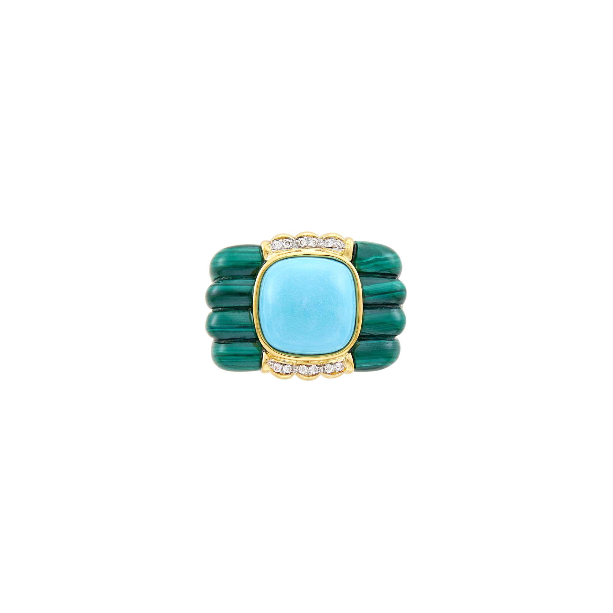 Lot image - Gold, Turquoise, Carved Malachite and Diamond Ring
