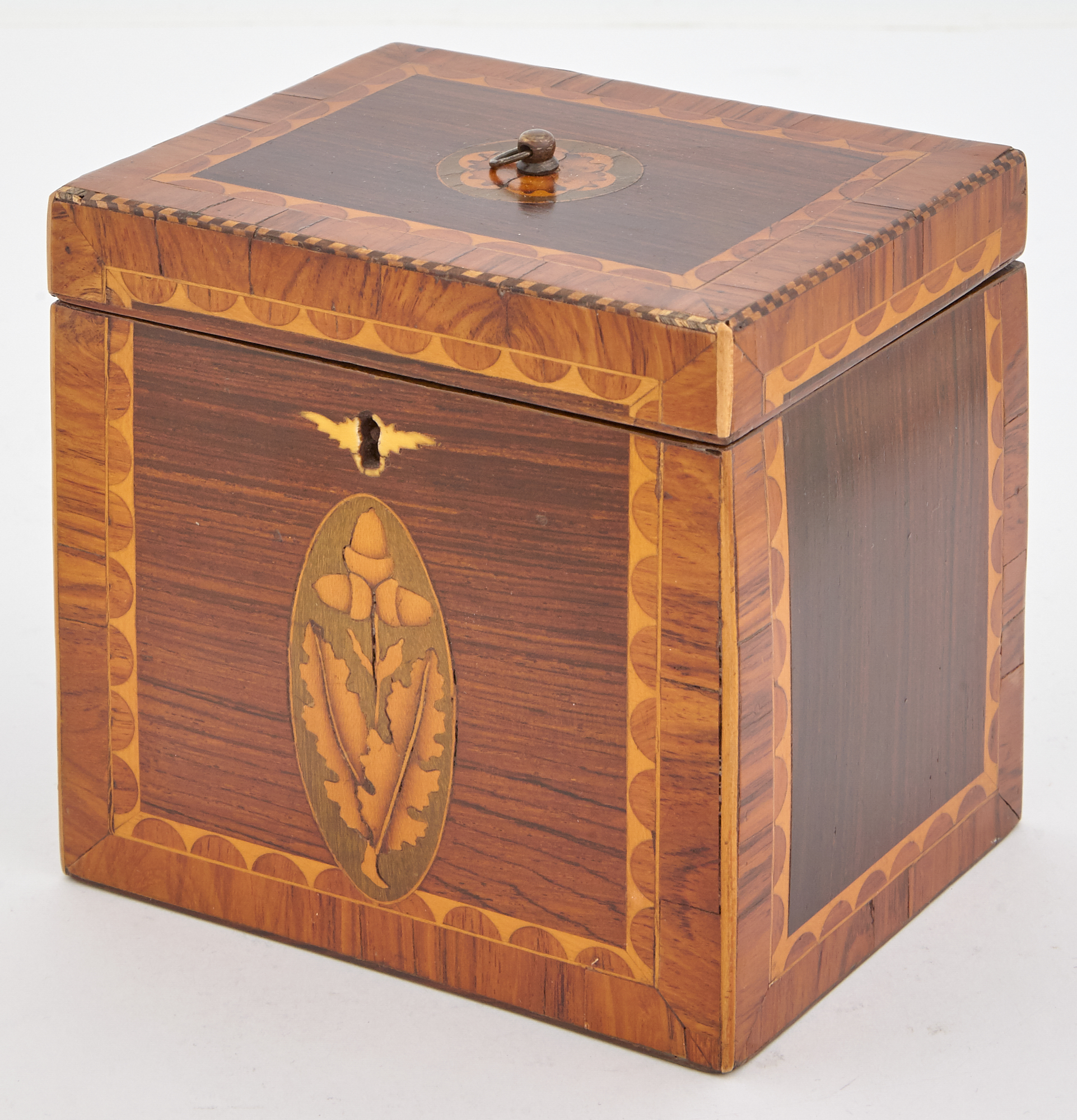 Lot image - George III Marquetry Inlaid Tea Caddy
