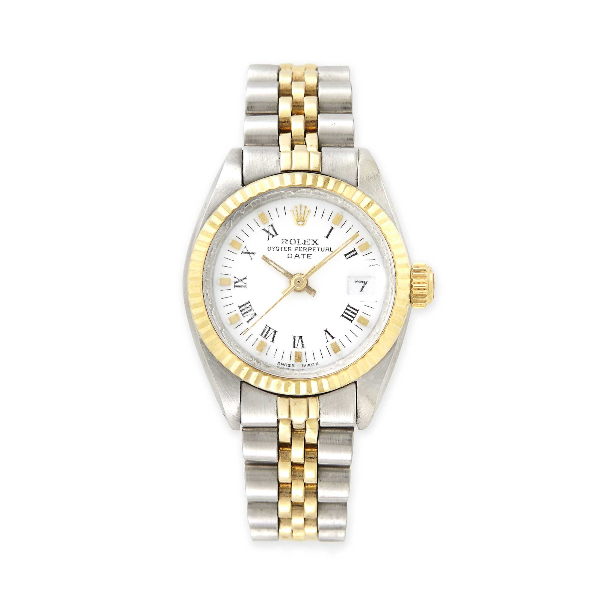Lot image - Ladys Gold and Stainless Steel Oyster Perpetual Date Wristwatch, Rolex