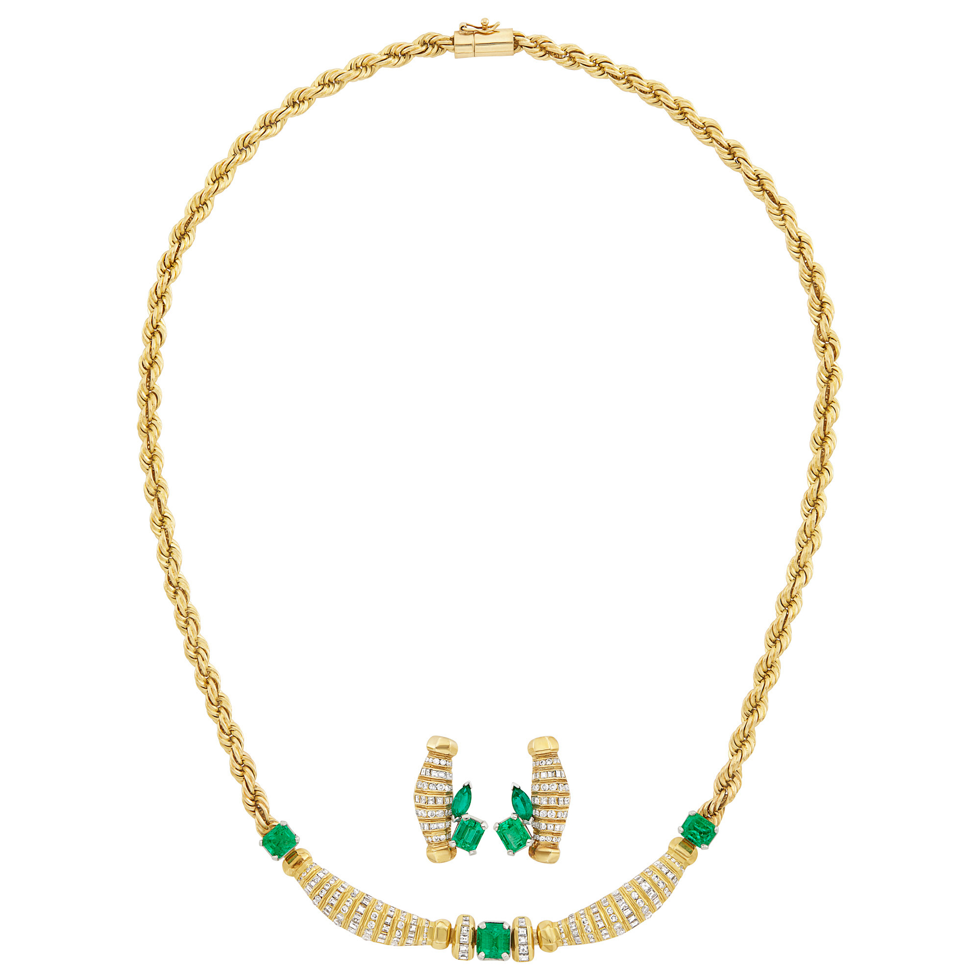 Lot image - Gold, Emerald and Diamond Necklace and Pair of Earrings