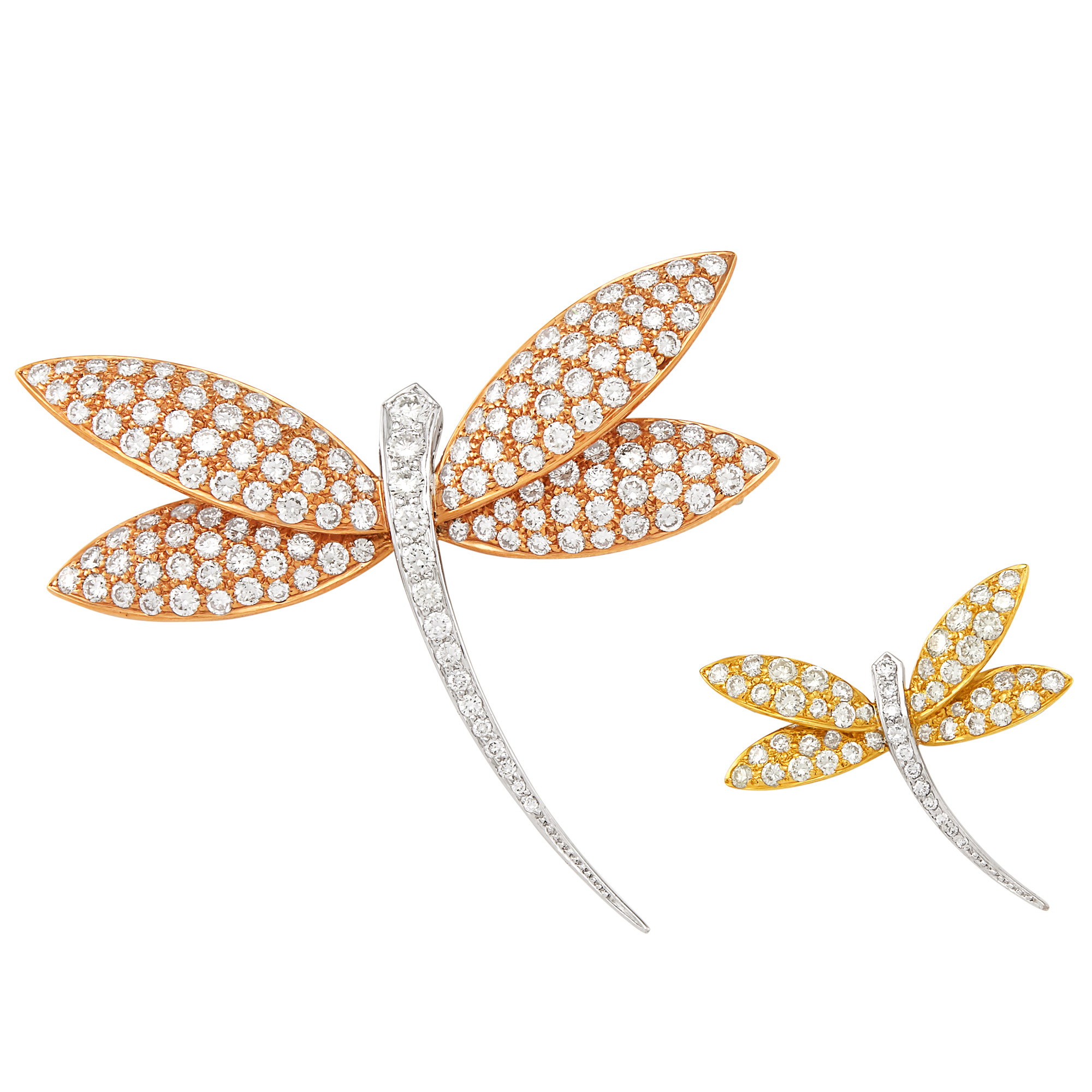 Lot image - Tricolor Gold and Diamond Dragonfly Brooches