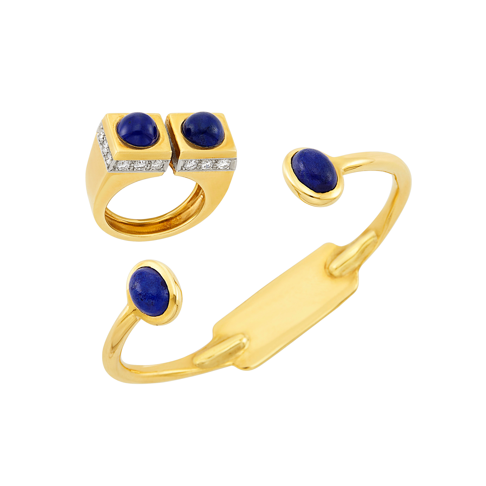 Lot image - Gold and Lapis Bangle Bracelet, Cartier, and Gold, Lapis and Diamond Ring, Tiffany & Co.