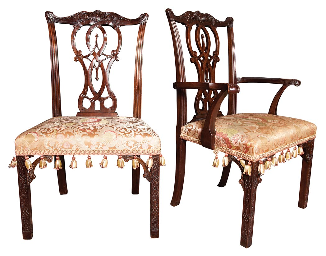 Lot image - Set of Sixteen George III Style Mahogany Dining Chairs
