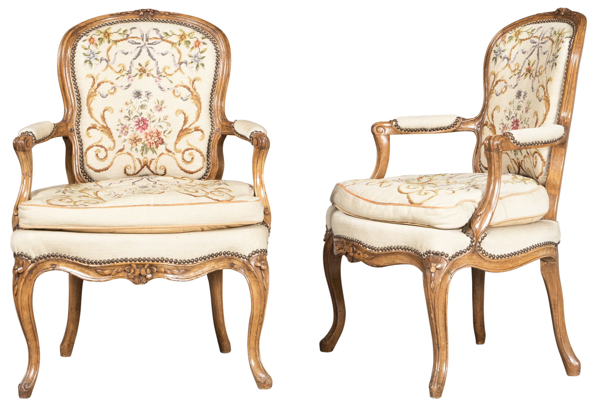 Lot image - Pair of Louis XV Style Needlepoint Upholstered Fruitwood Fauteuils