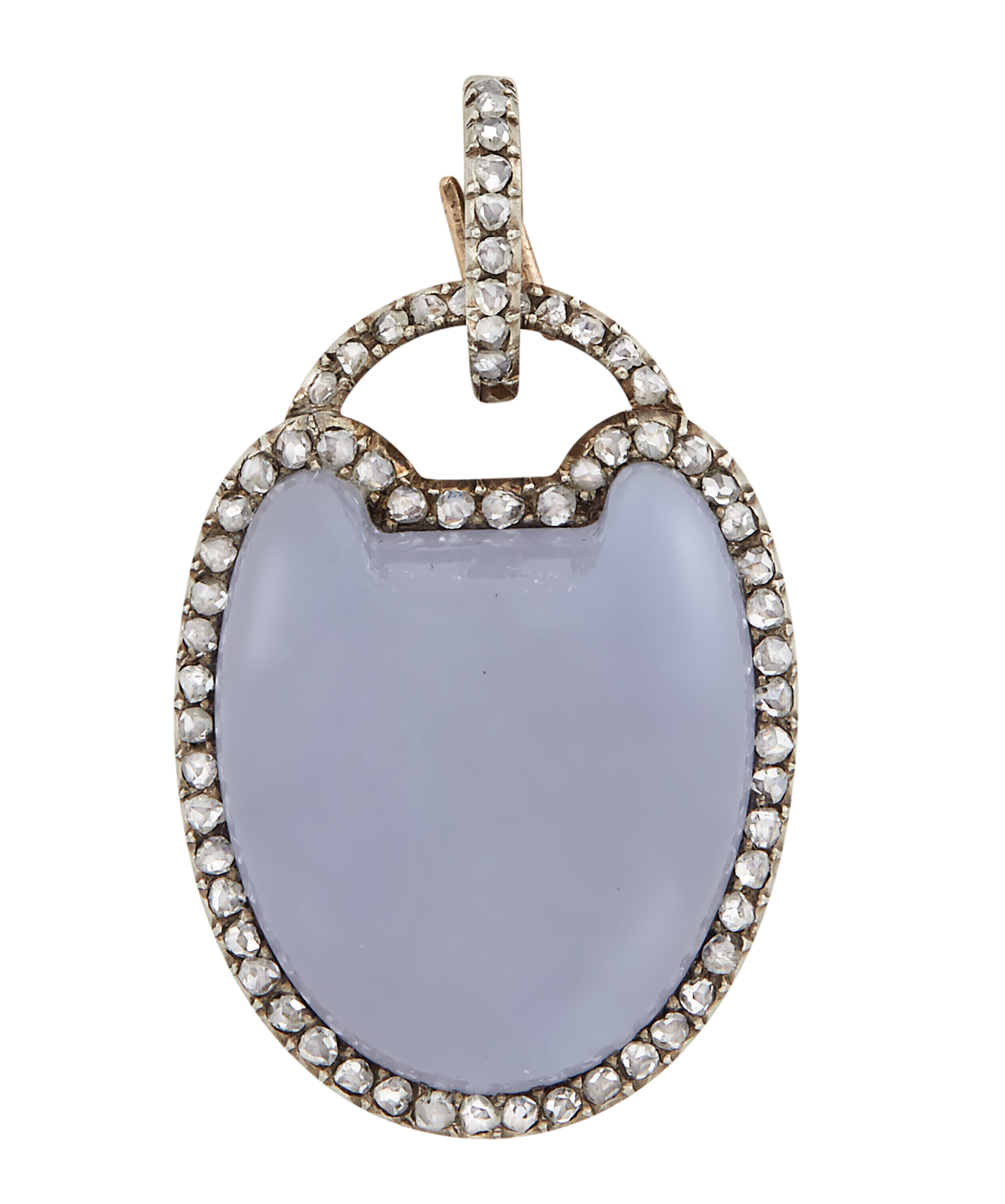 Lot image - Fabergé Silver-Topped Gold-Mounted Chalcedony and Diamond Pendant