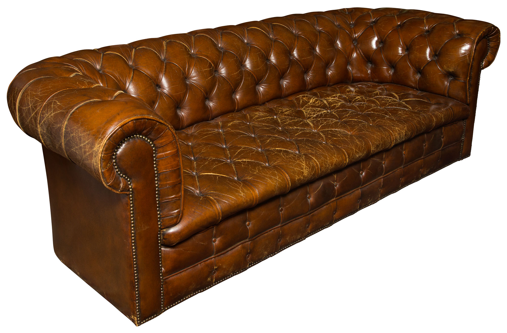 Lot image - Pair of Leather Upholstered Chesterfield Sofas