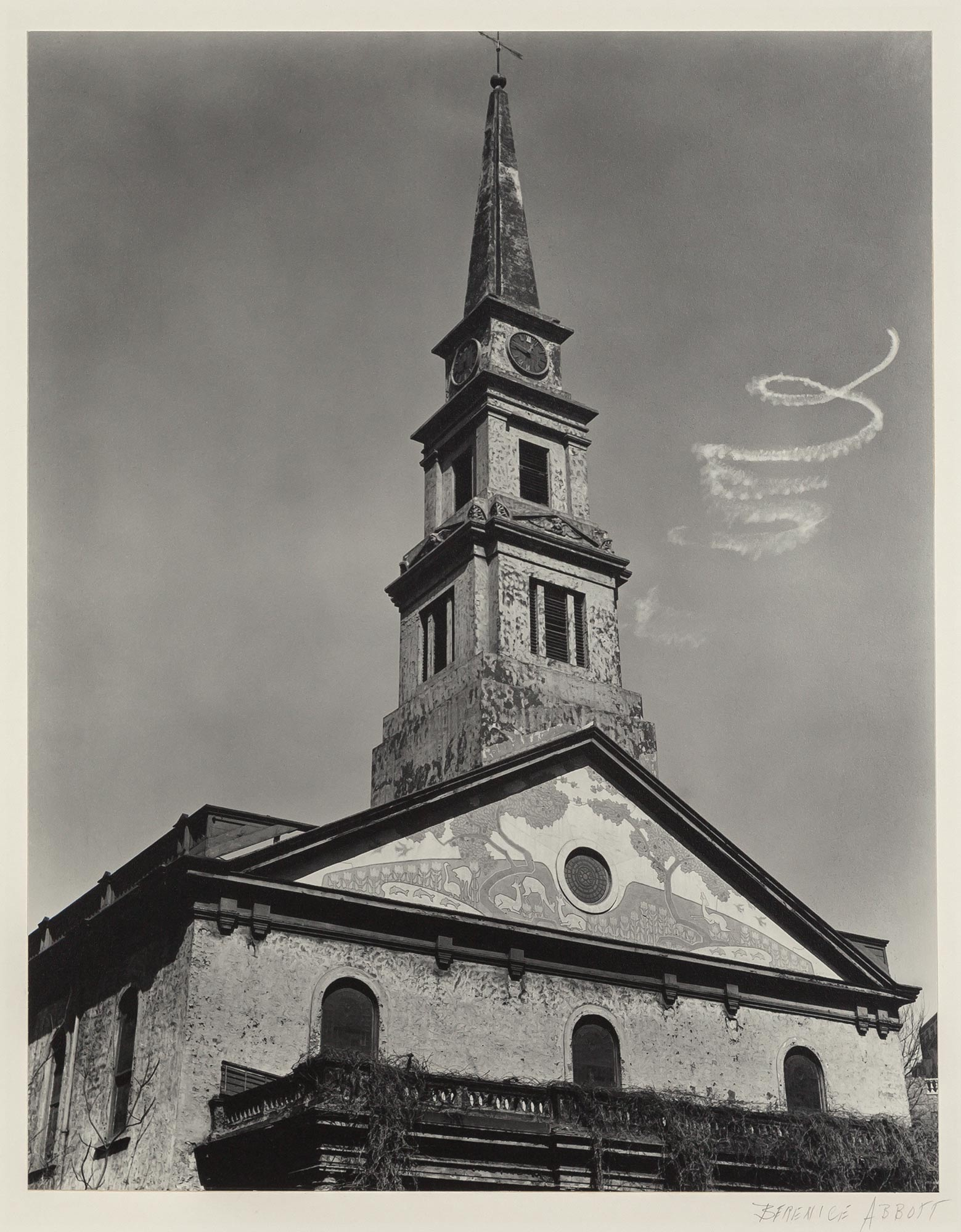 Lot image - ABBOTT, BERENICE (1898-1991)  [Sky-writing spiral over St. Marks Church], New York City