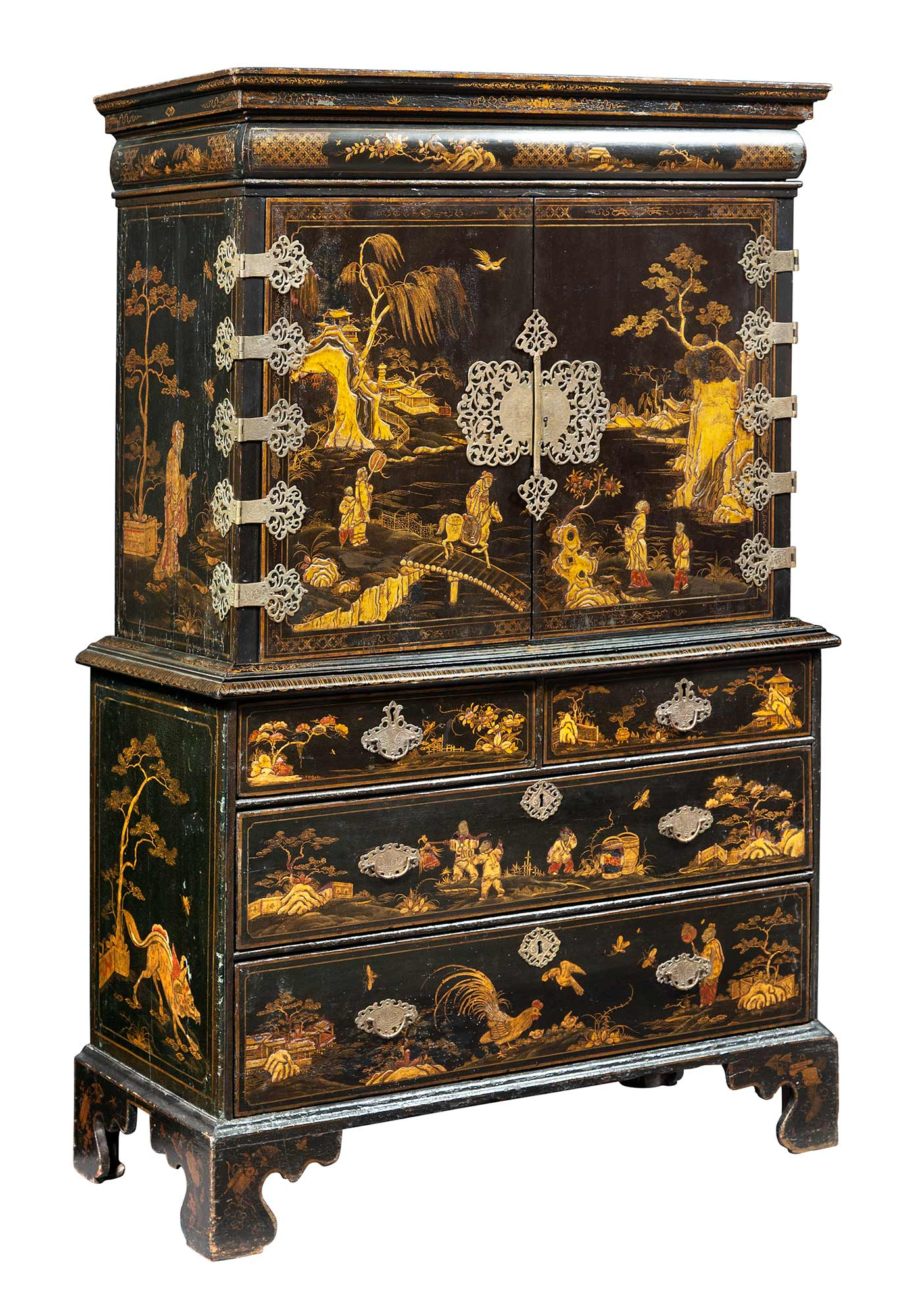 Lot image - Queen Anne Black-Japanned, Parcel-Gilt and Brass-Mounted Cabinet on Chest