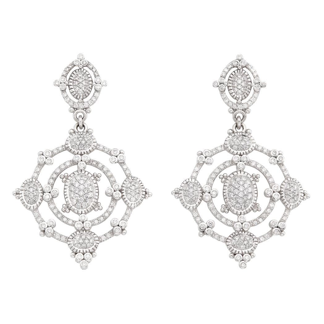 Lot image - Pair of White Gold and Diamond Pendant-Earrings, Judith Ripka