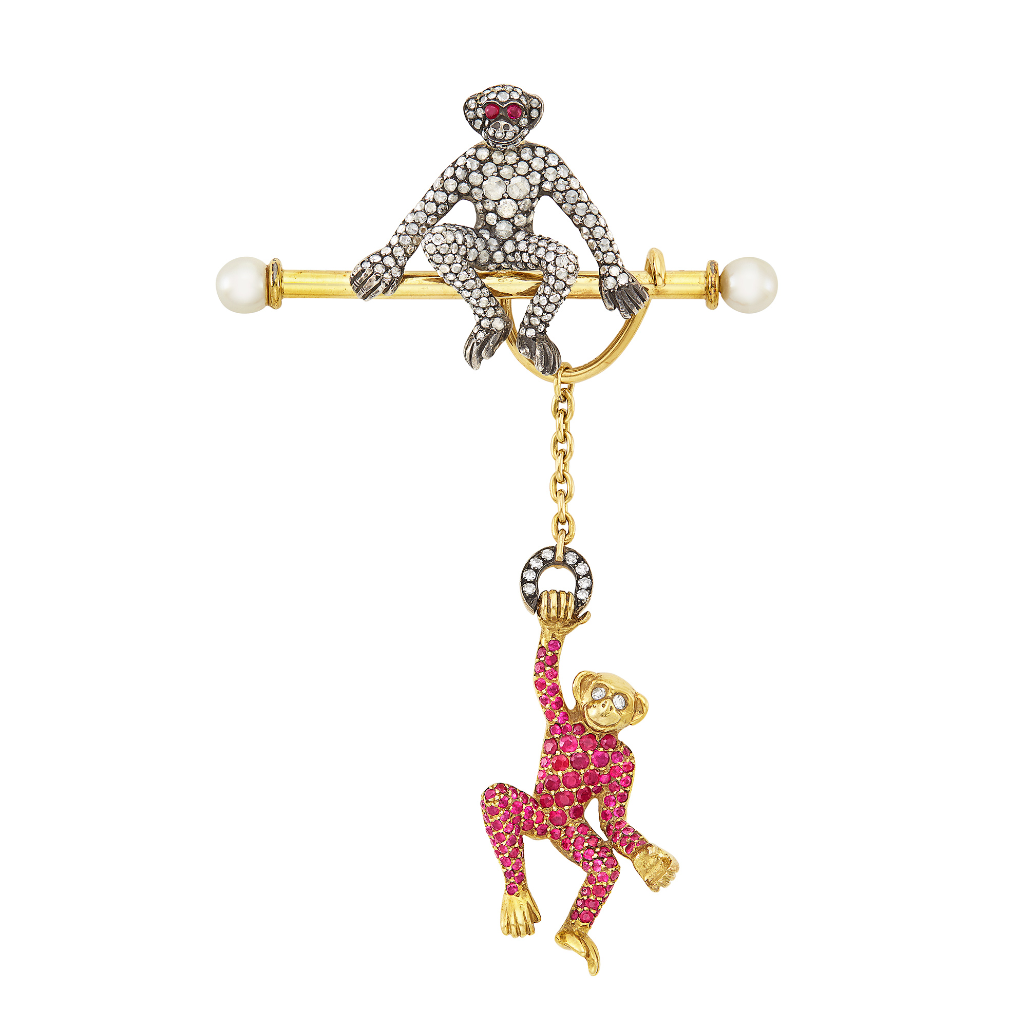 Lot image - Gold, Silver, Diamond, Ruby, Cabochon Ruby and Cultured Pearl Monkey Bar Pin
